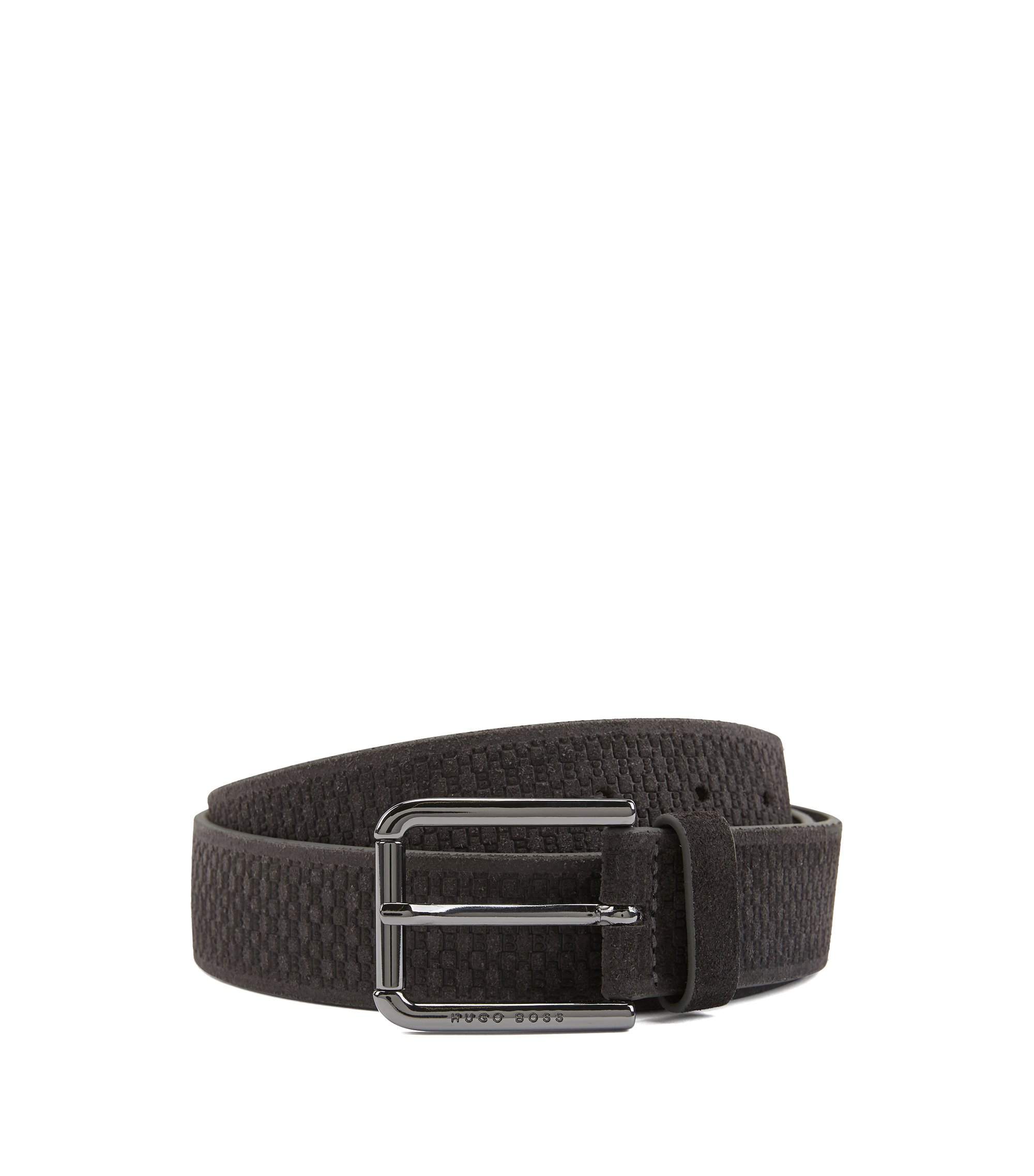 Suede belt with embossed pattern, Dark Grey