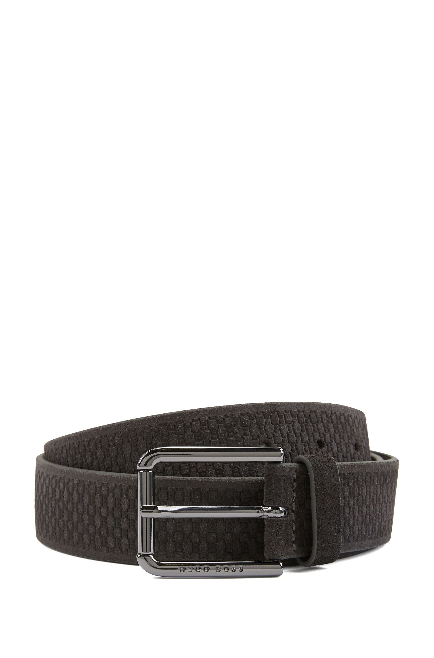 Suede belt with embossed pattern