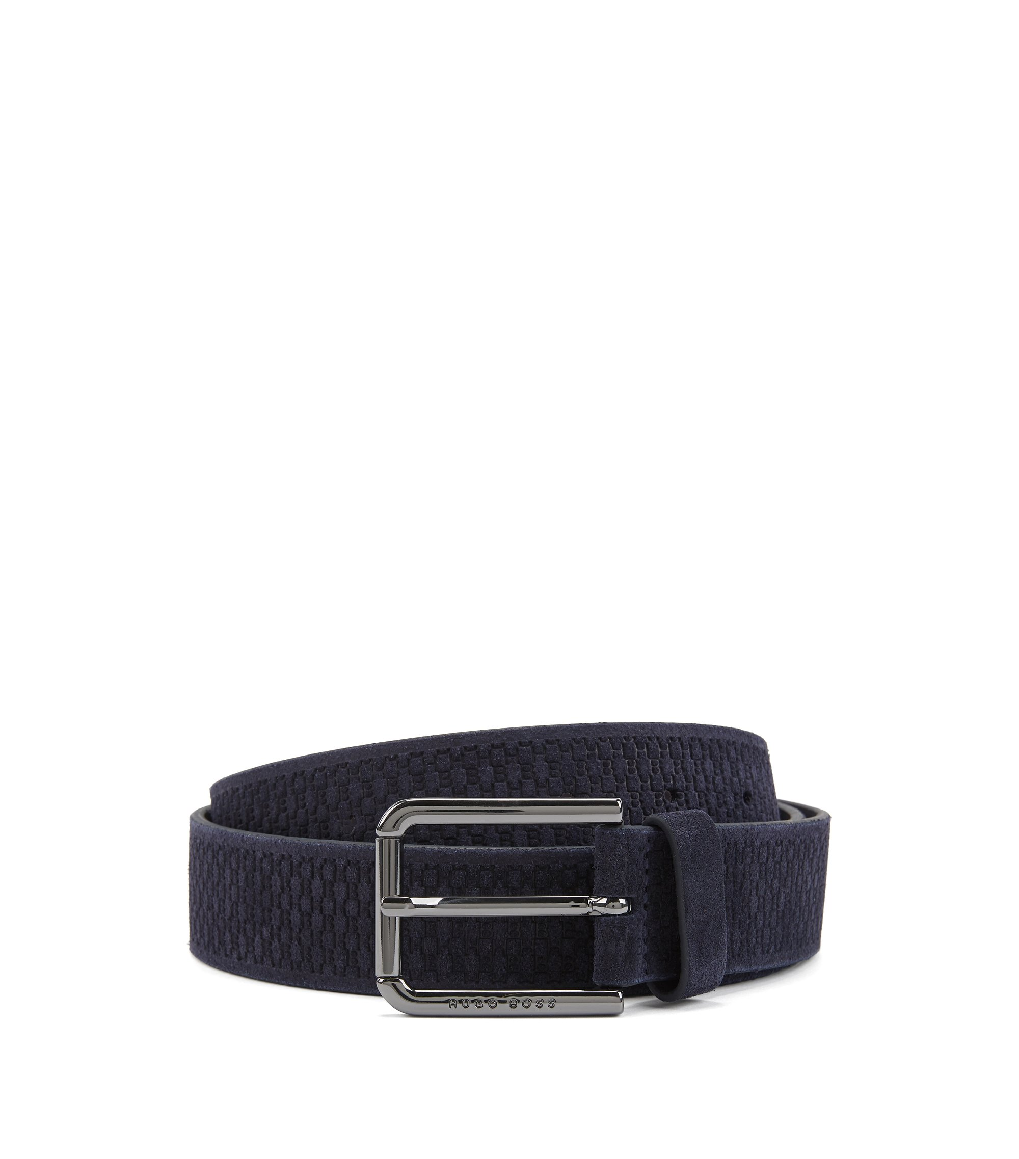 Suede belt with embossed pattern, Dark Blue