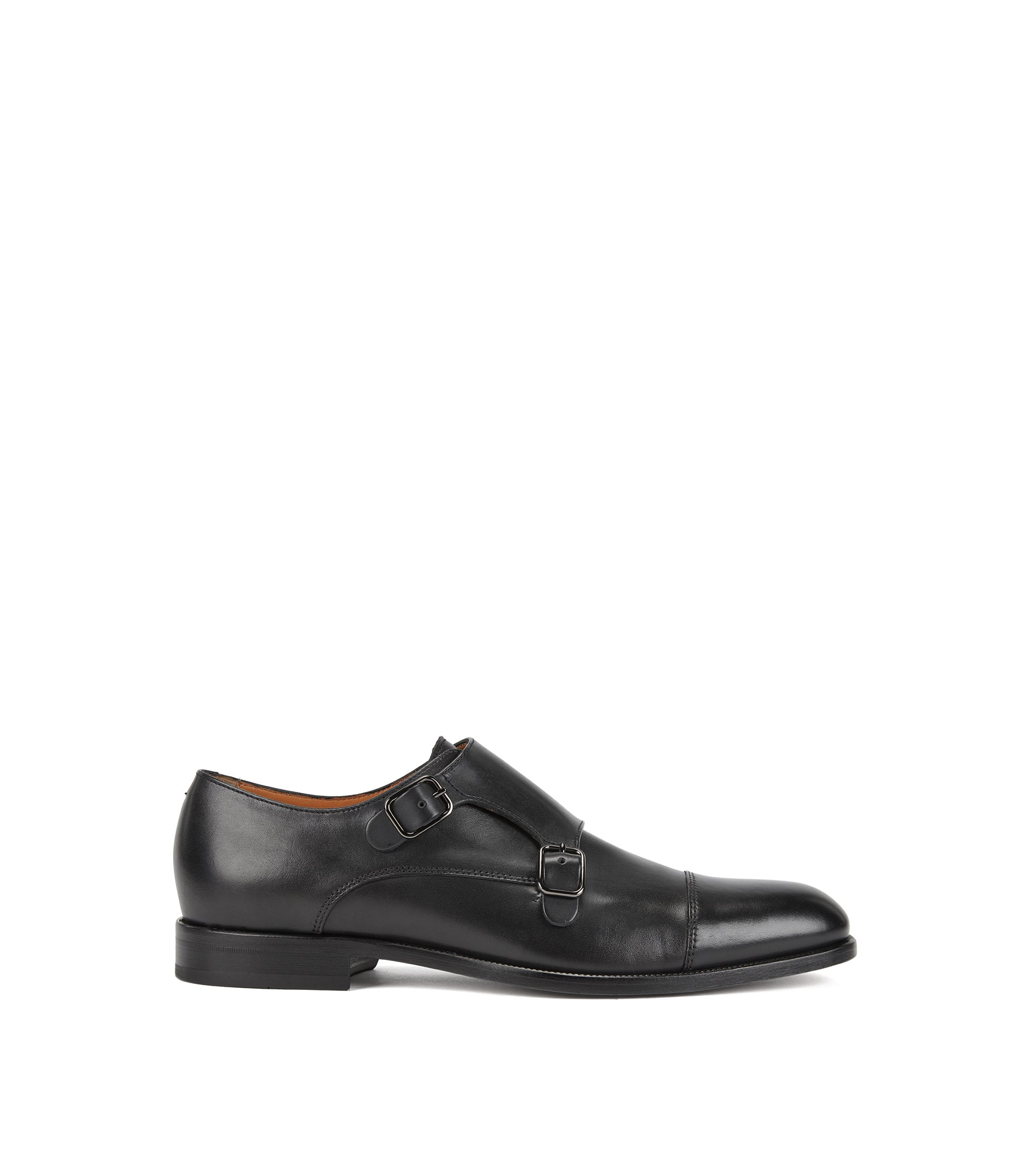 Double-monk shoes in smooth calf leather, Dark Blue