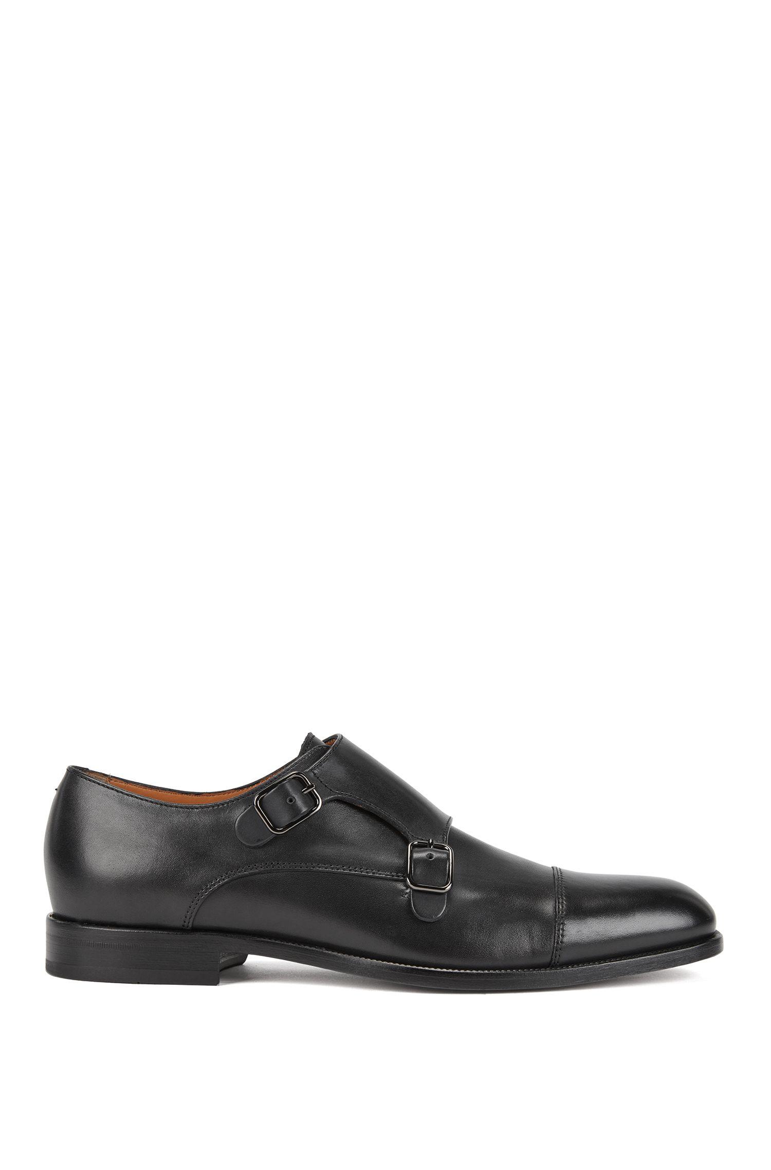 Zapatos de hebilla doble en suave piel de becerro, Azul oscuro