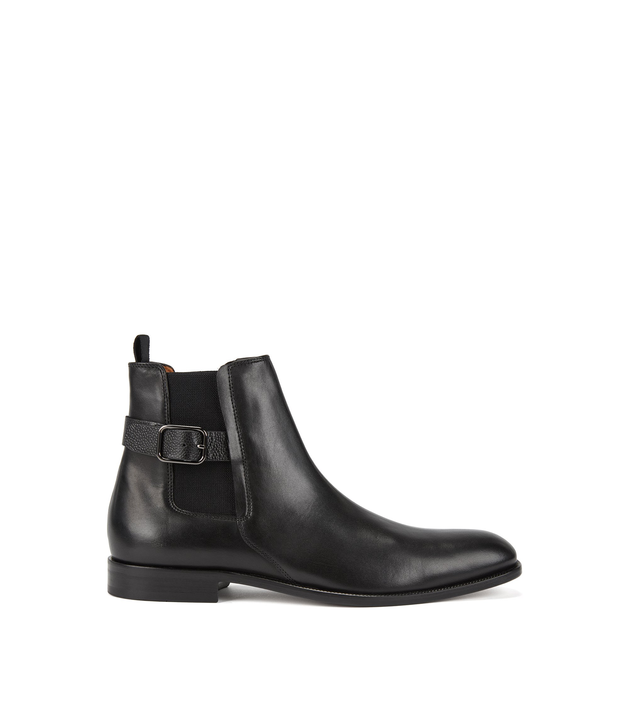 Chelsea boots in calf leather with Scotch-leather straps, Black