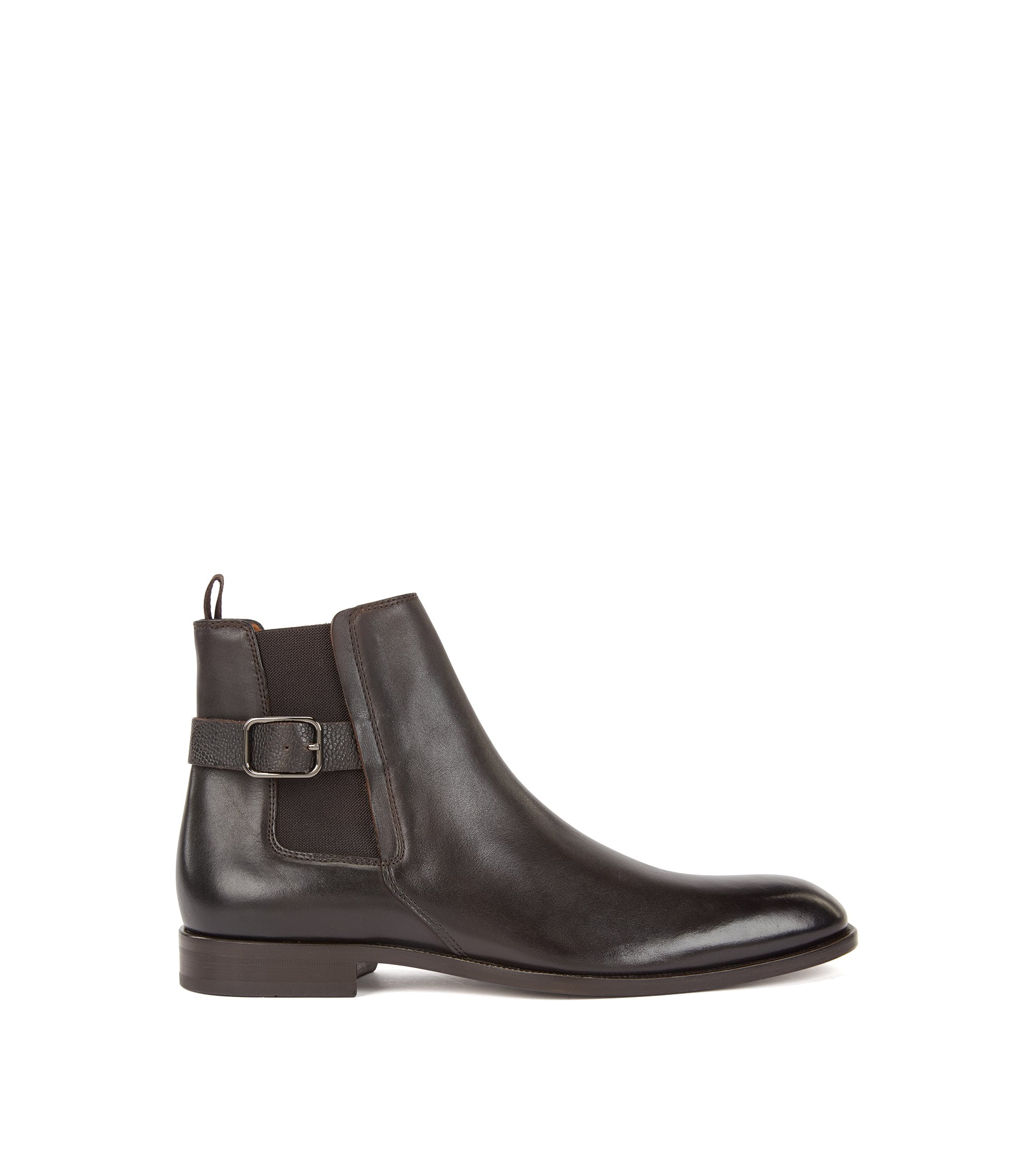 Chelsea boots in calf leather with Scotch-leather straps, Dark Brown