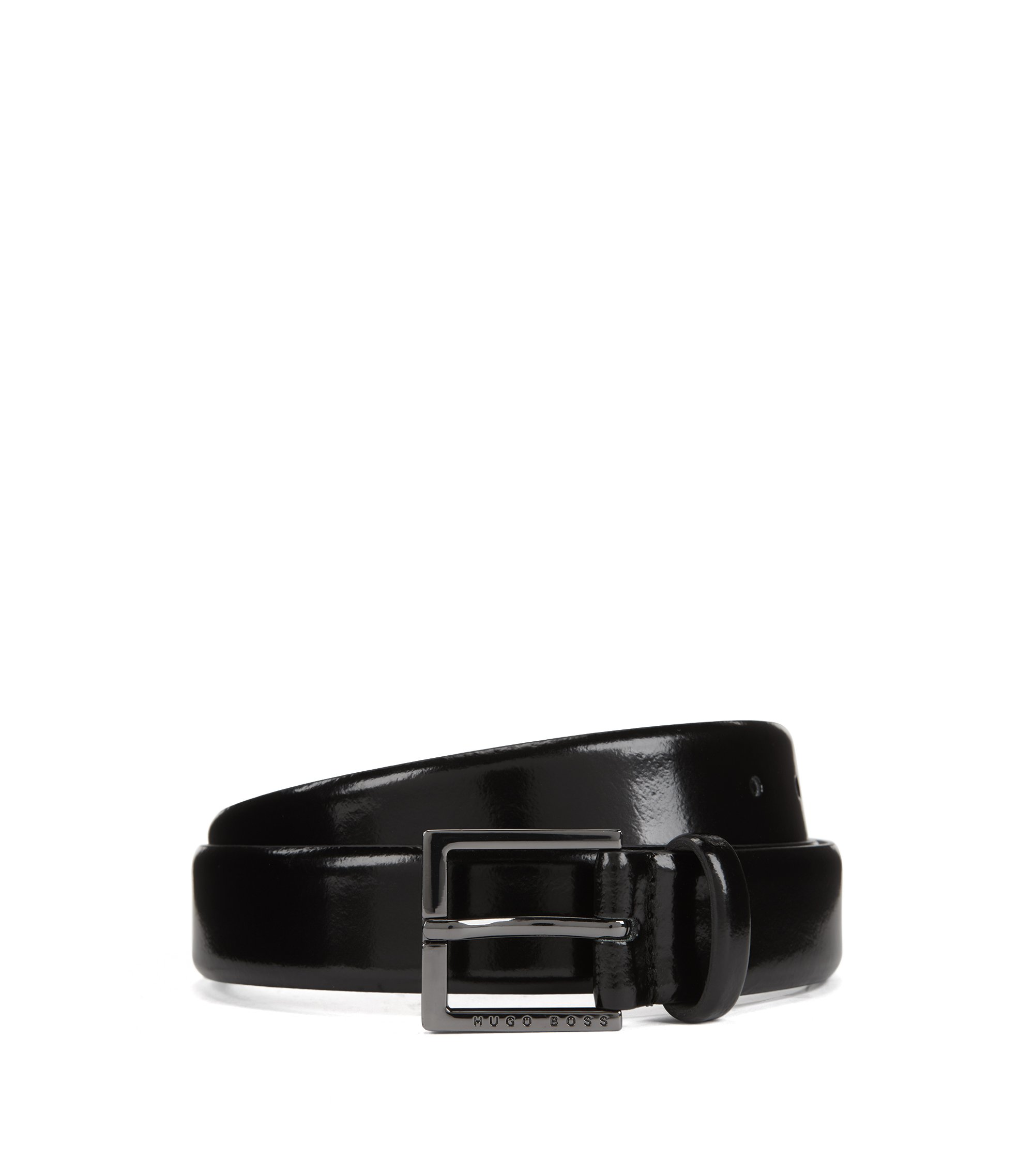 Leather belt with brush-off finishing, Black