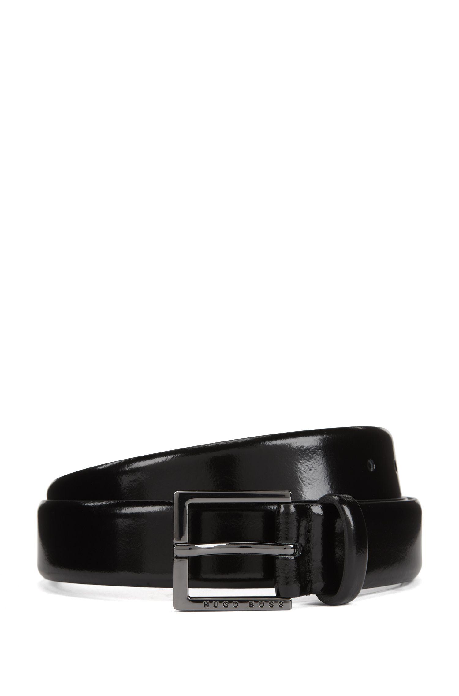 Cinturón de piel con acabado cepillado, Negro