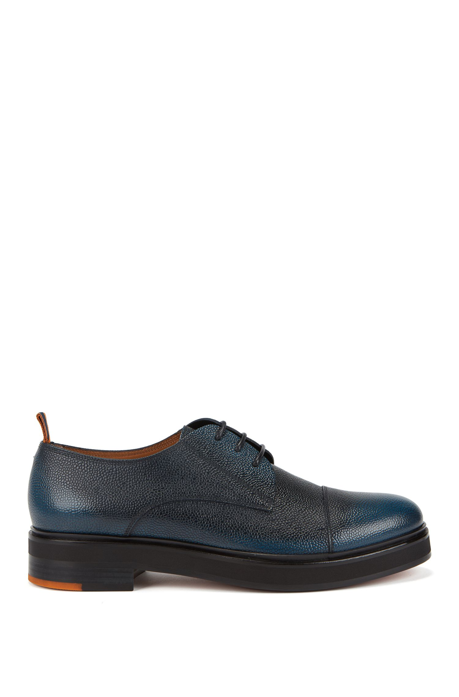 Italian-made Derby shoes in grainy Scotch leather, Blue