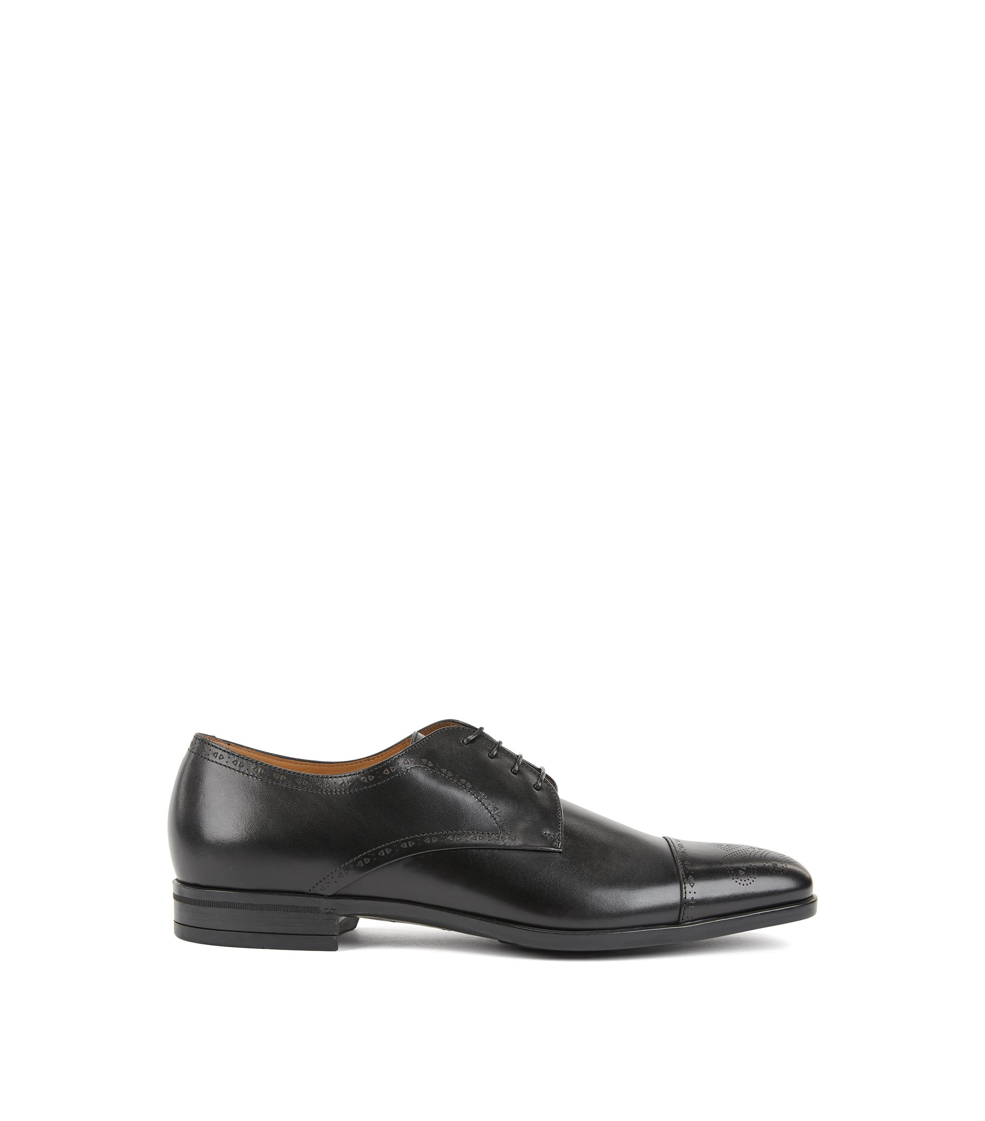 Laser-cut Derby shoes in burnished leather with brogue detailing, Black
