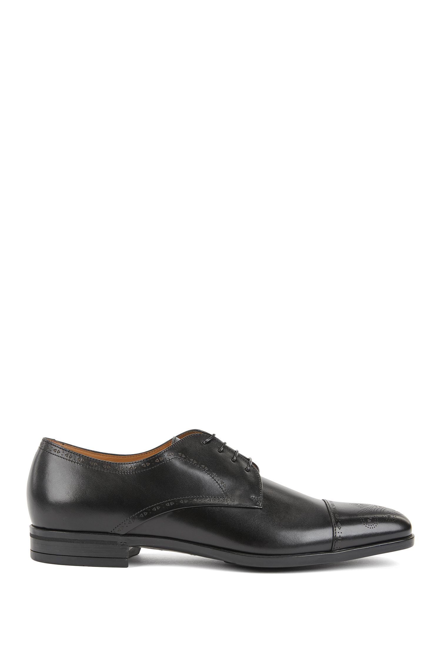 Laser-cut Derby shoes in burnished leather with brogue detailing