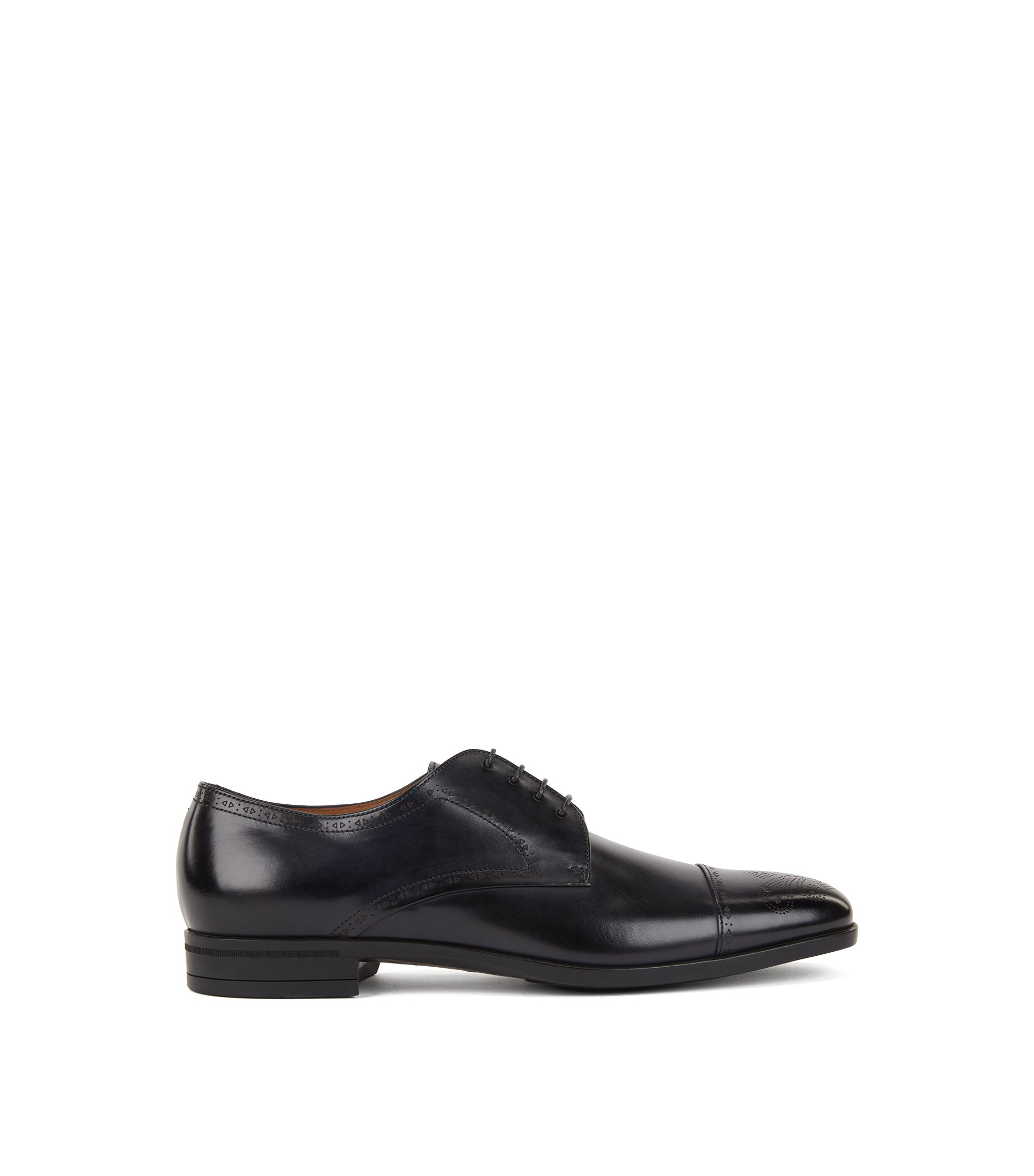 Laser-cut Derby shoes in burnished leather with brogue detailing, Dark Blue