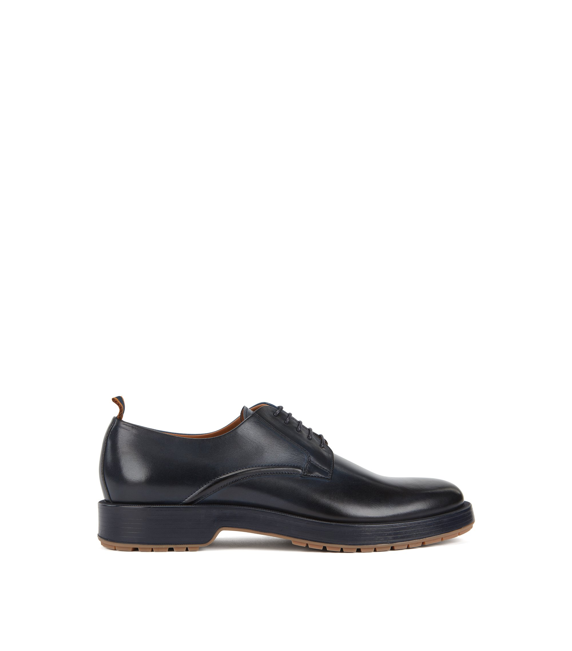 Derby shoes in burnished calf leather with lug sole, Blue