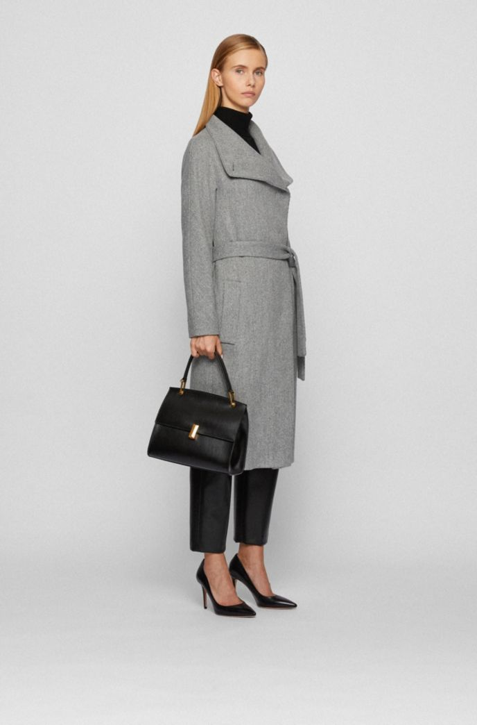 Regular-fit wool-blend coat with cashmere