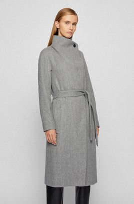 Regular-fit wool-blend coat with cashmere, Grey