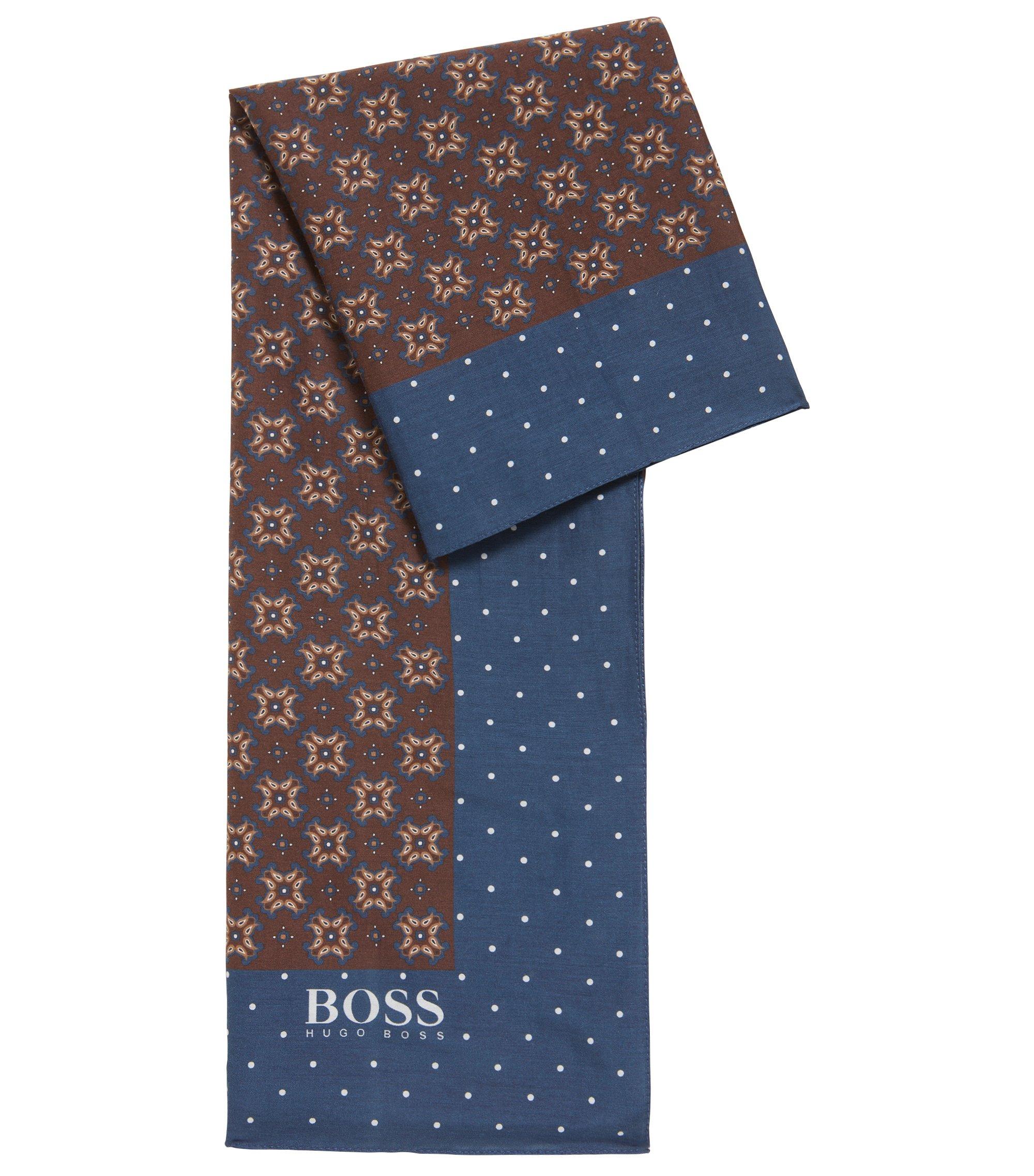 Écharpe à motif inspirée d'un style traditionnel, en coton et soie, Marron foncé
