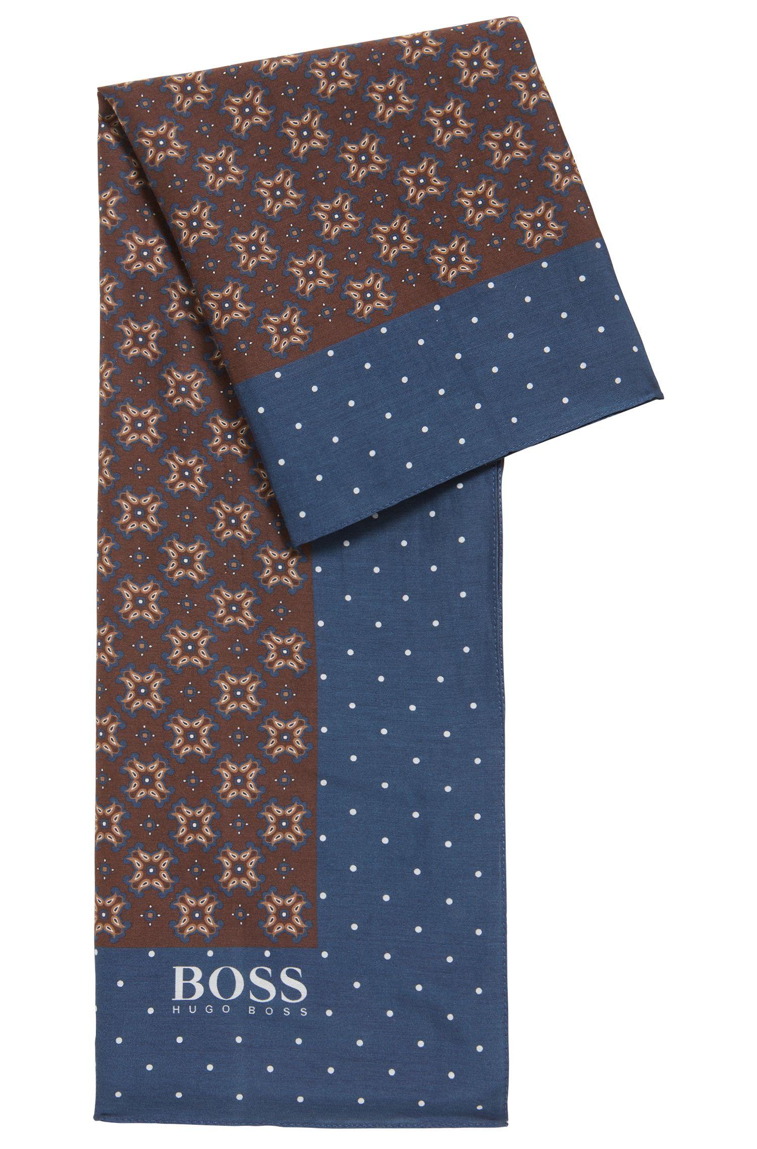 Fular estampado de inspiración tradicional en algodón con seda, Marrón oscuro