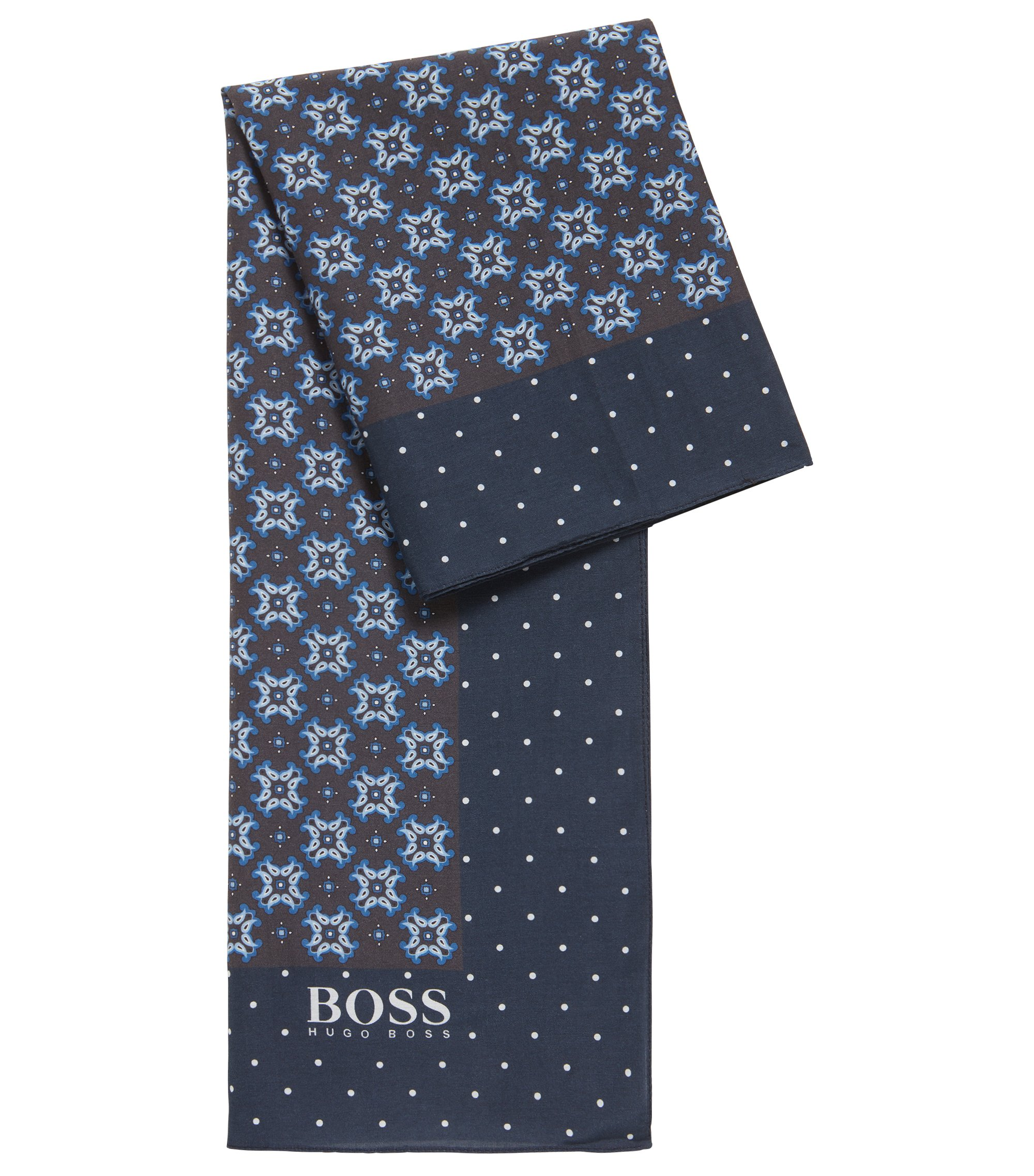 Traditionally inspired patterned scarf in cotton with silk, Dark Blue
