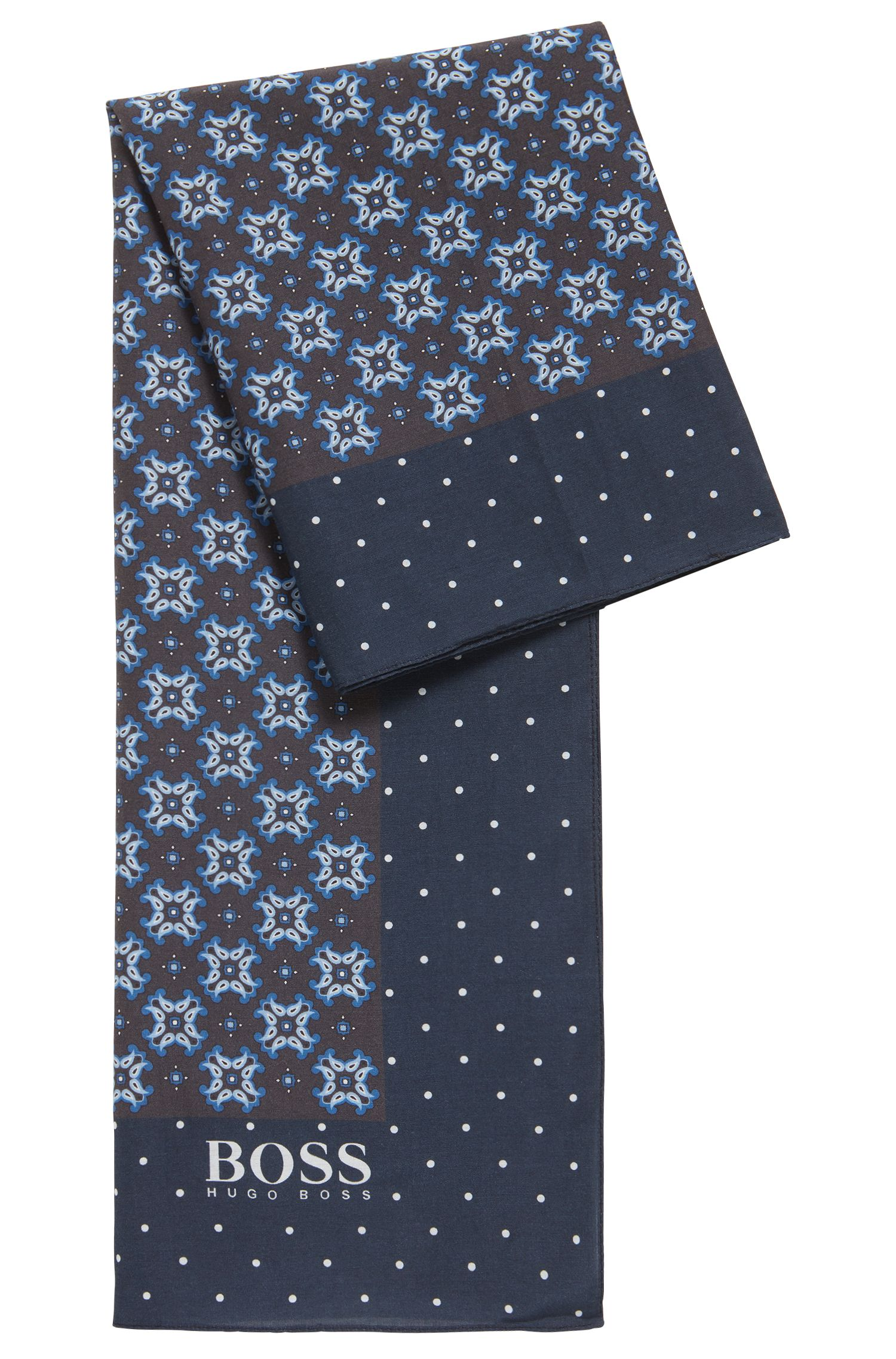 Traditioneel geïnspireerde sjaal met dessin, van katoen met zijde