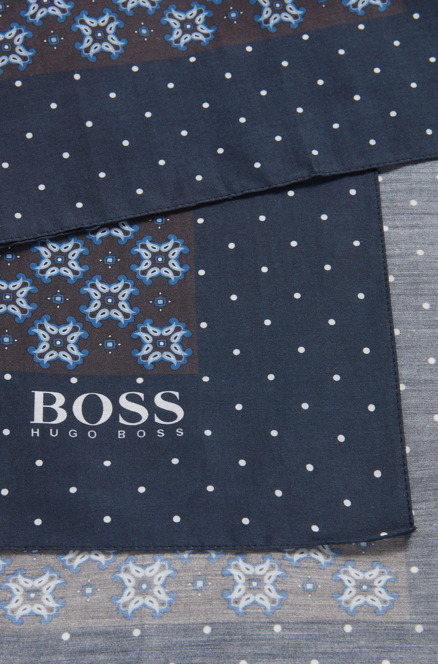 Fular estampado de inspiración tradicional en algodón con seda, Azul