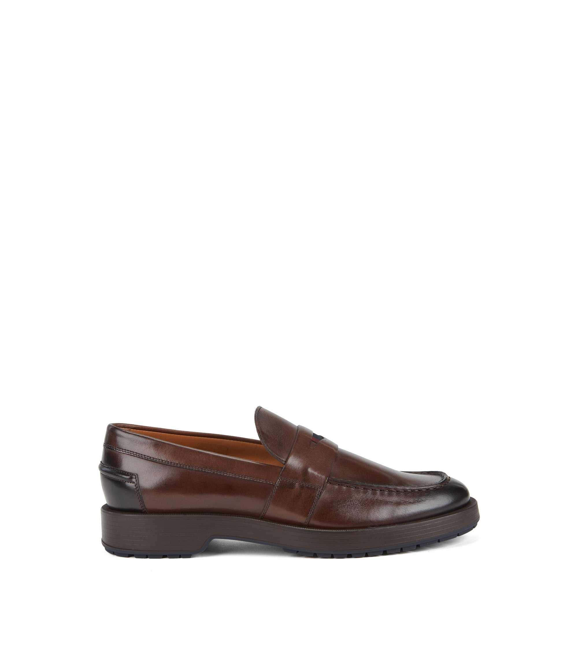 Penny loafers in burnished calf leather with lug sole, Dark Brown
