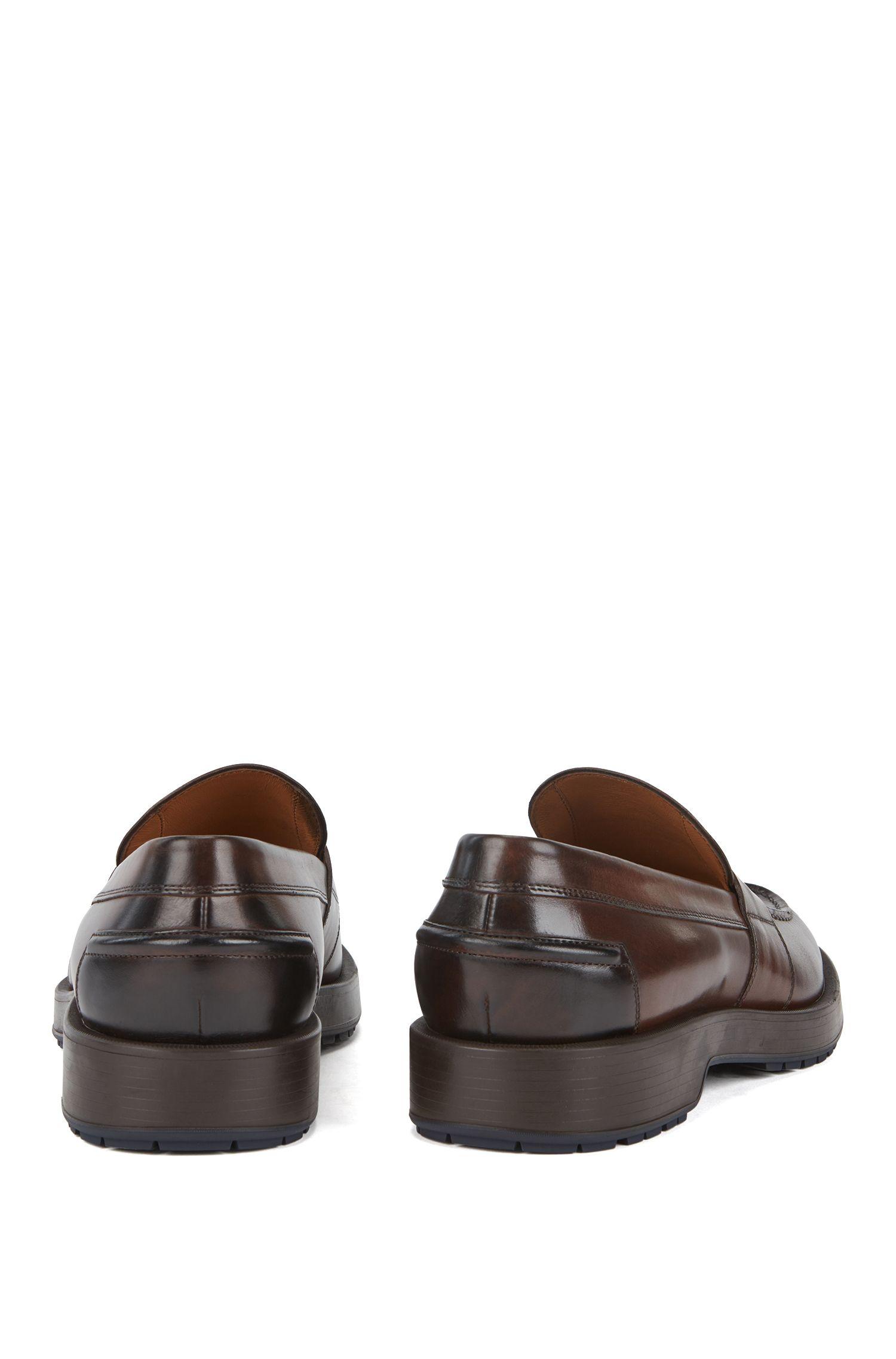 Loafers van gepolijst kalfsleer met dikke profielzool, Donkerbruin