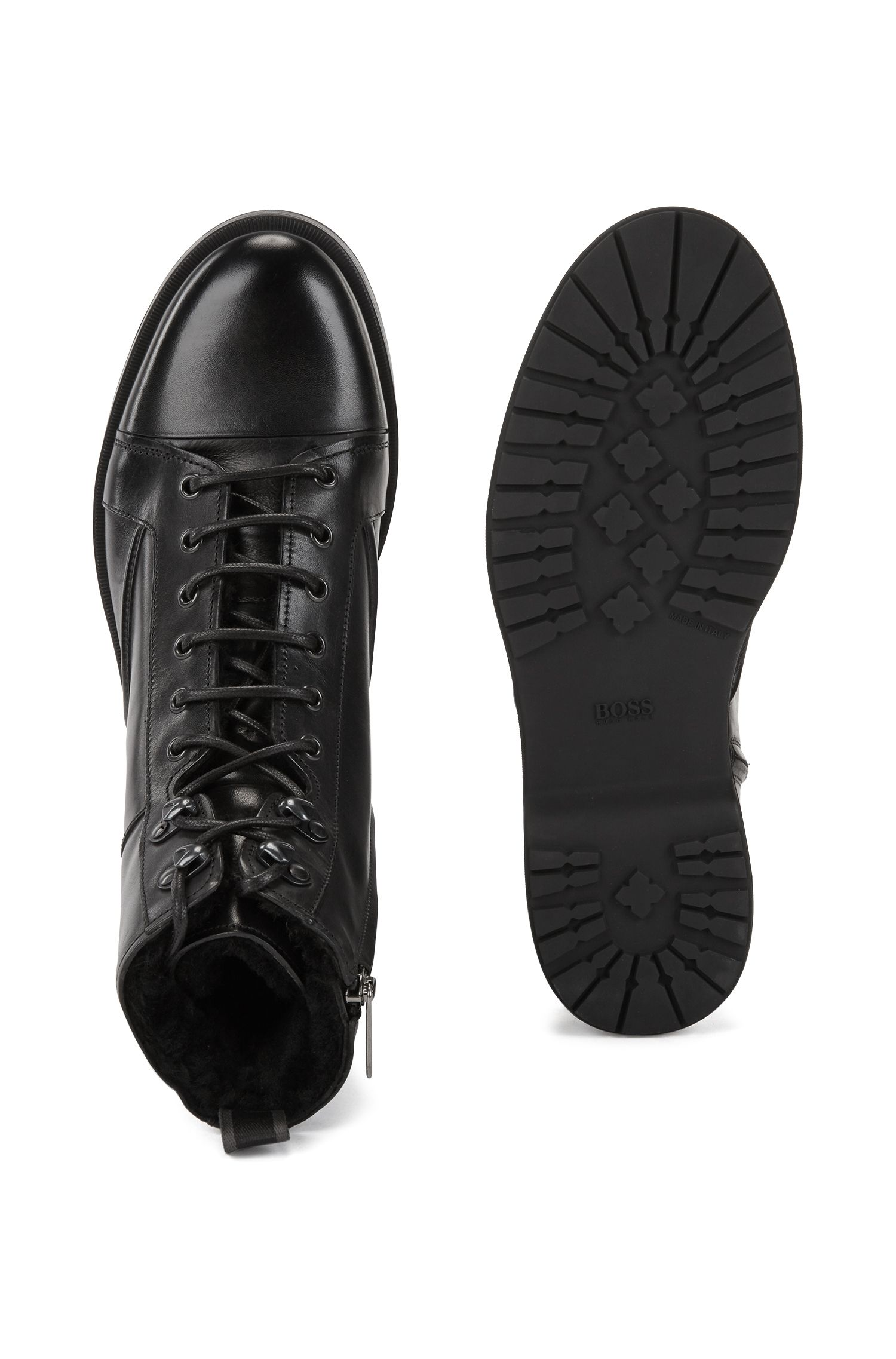 Lace-up boots in burnished leather with lambskin lining, Black