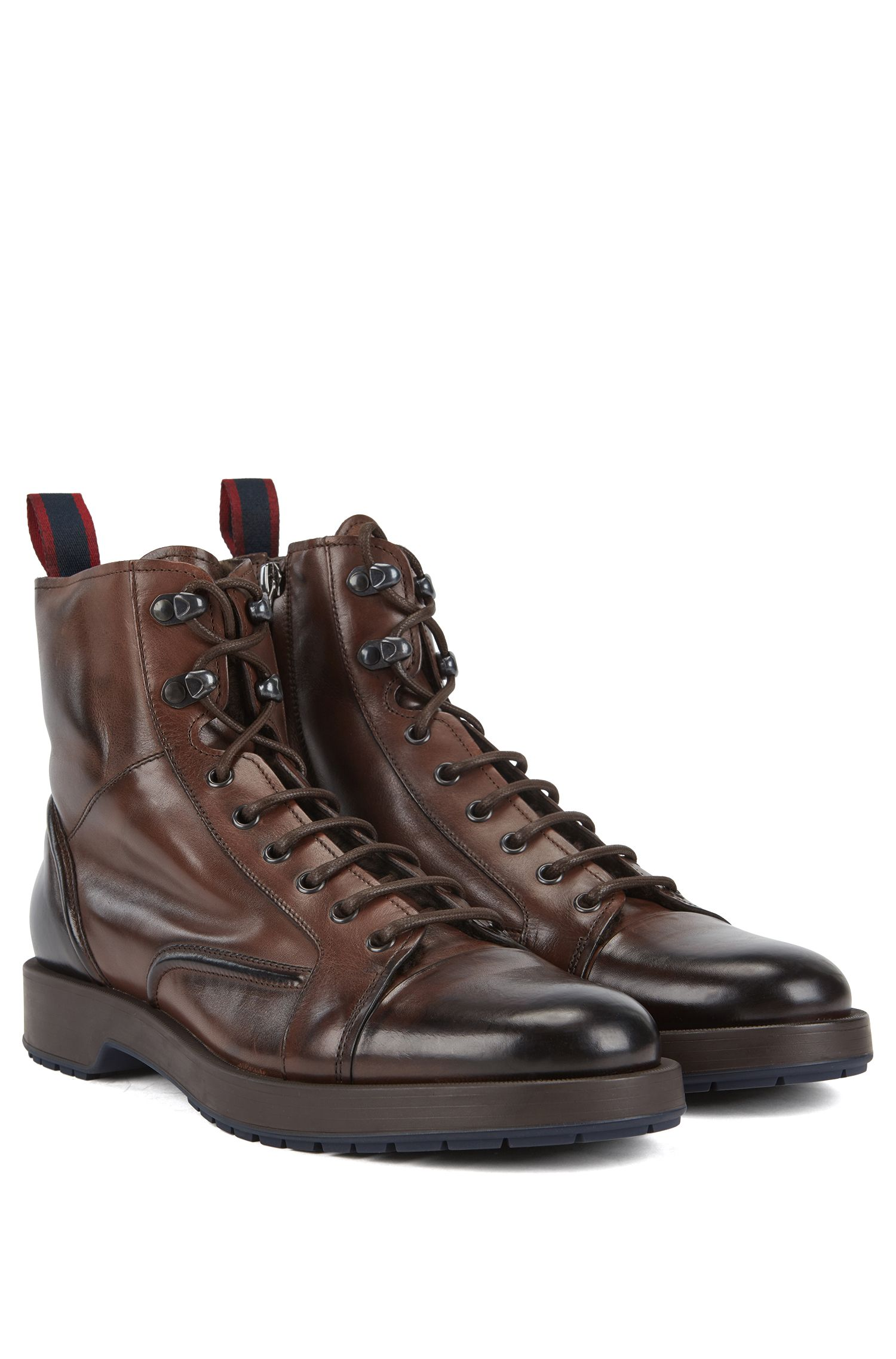 Lace-up boots in burnished leather with lambskin lining, Dark Brown
