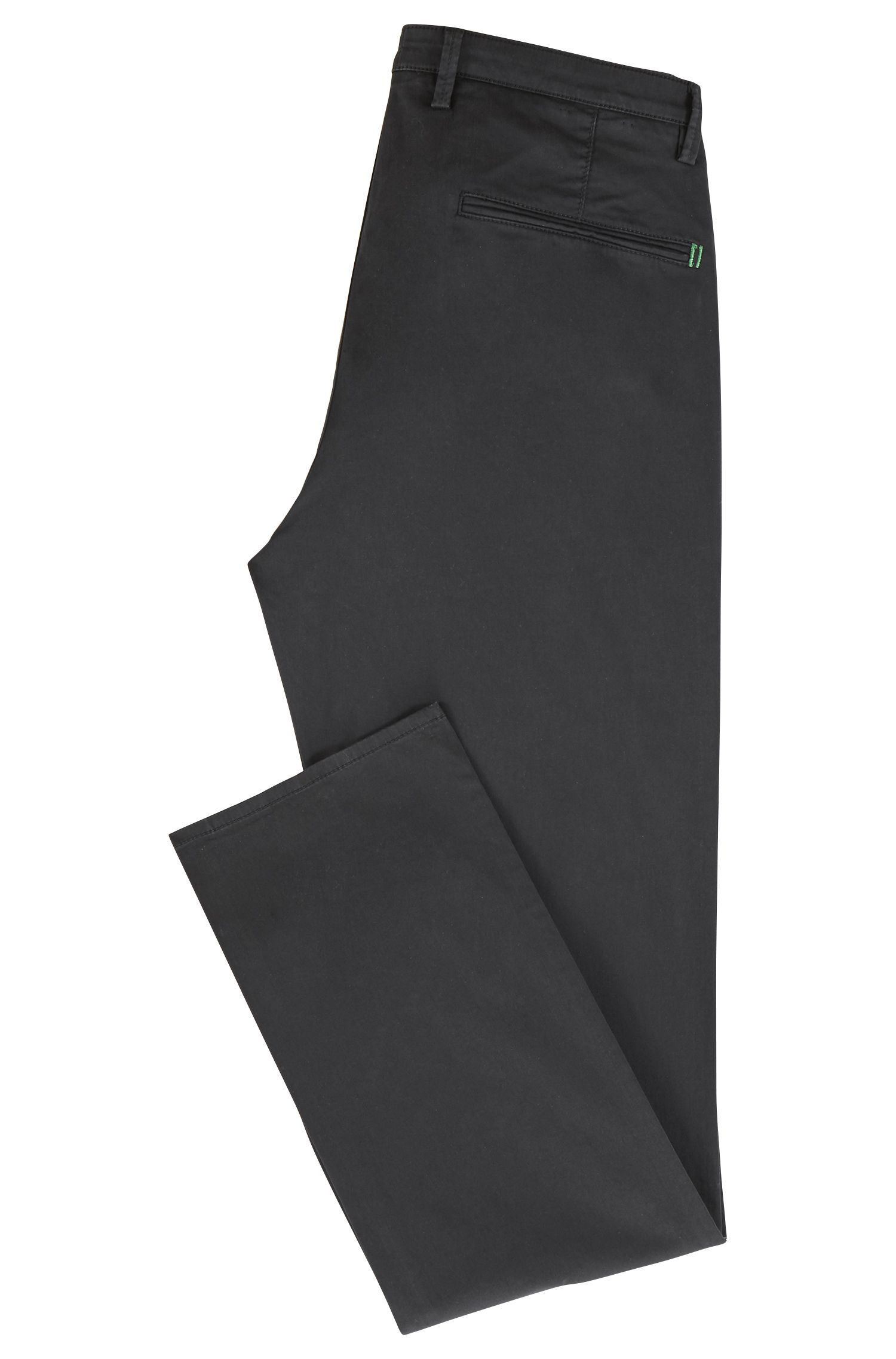 Chino Slim Fit en coton stretch confortable à la finition brossée Diamond Brushed, Noir