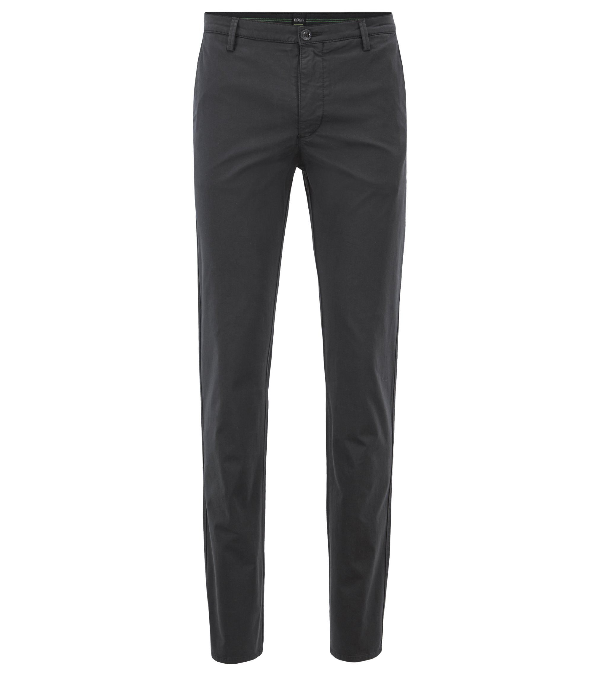Slim-fit chinos in diamond-brushed comfort-stretch cotton, Black
