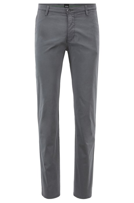 Slim-fit chinos in diamond-brushed comfort-stretch cotton, Anthracite
