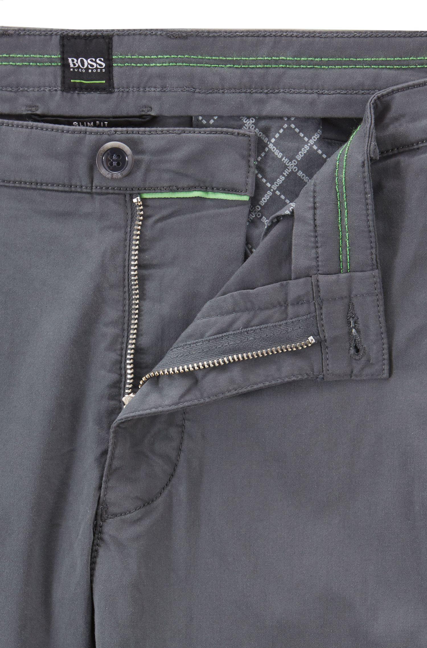 Chino Slim Fit en coton stretch confortable à la finition brossée DiamondBrushed, Anthracite