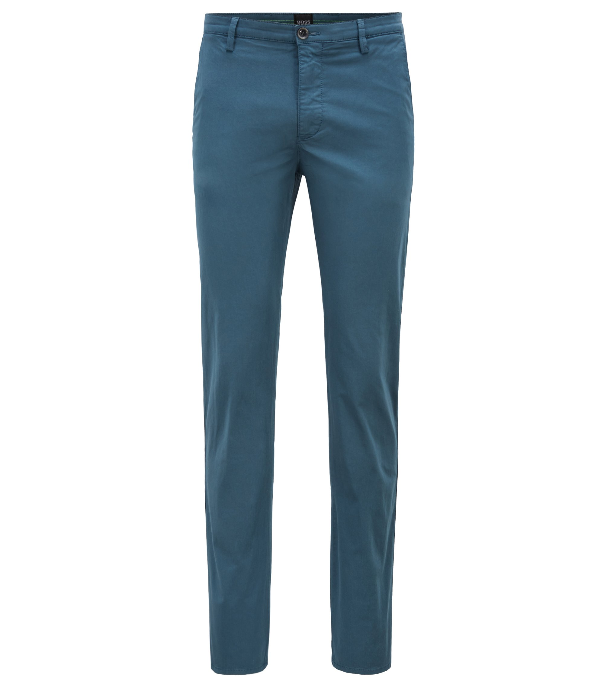 Chino Slim Fit en coton stretch confortable à la finition brossée Diamond Brushed, Bleu