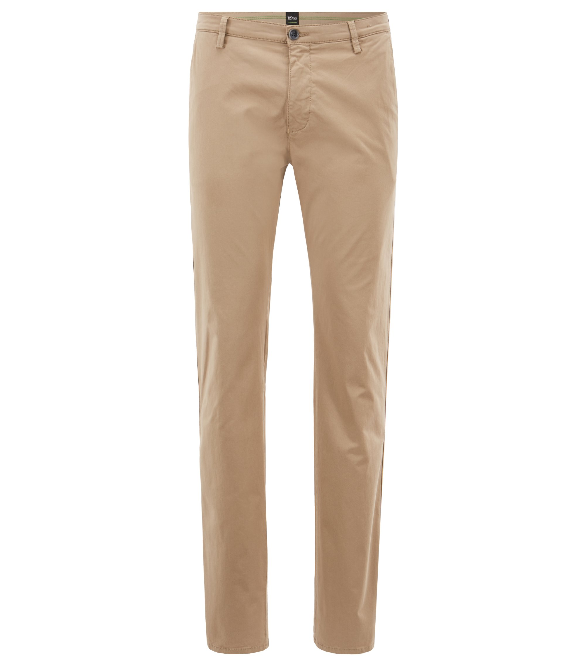Slim-fit chinos in diamond-brushed comfort-stretch cotton, Beige