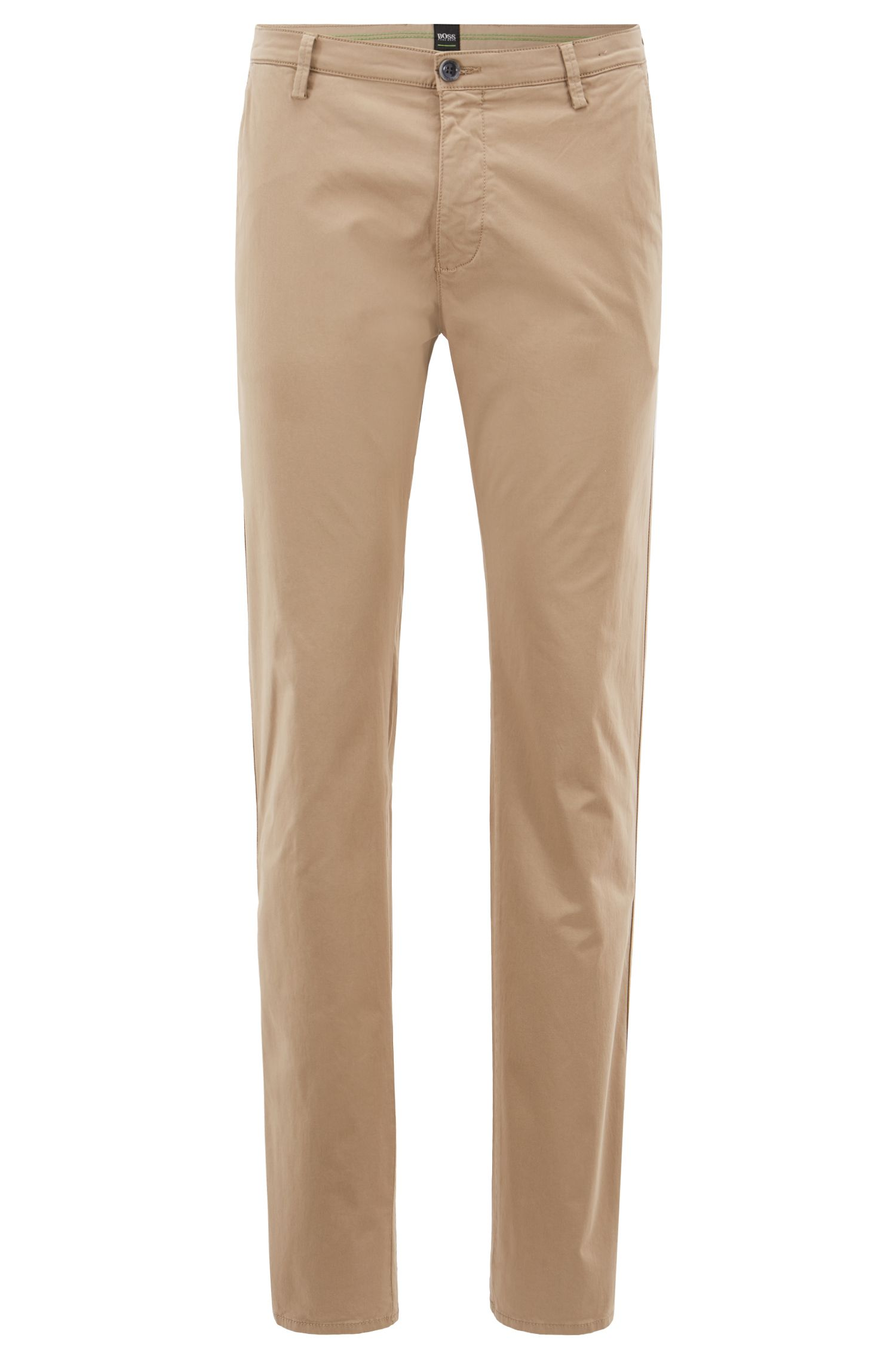 Slim-Fit Chino aus angerauter Stretch-Baumwolle, Beige