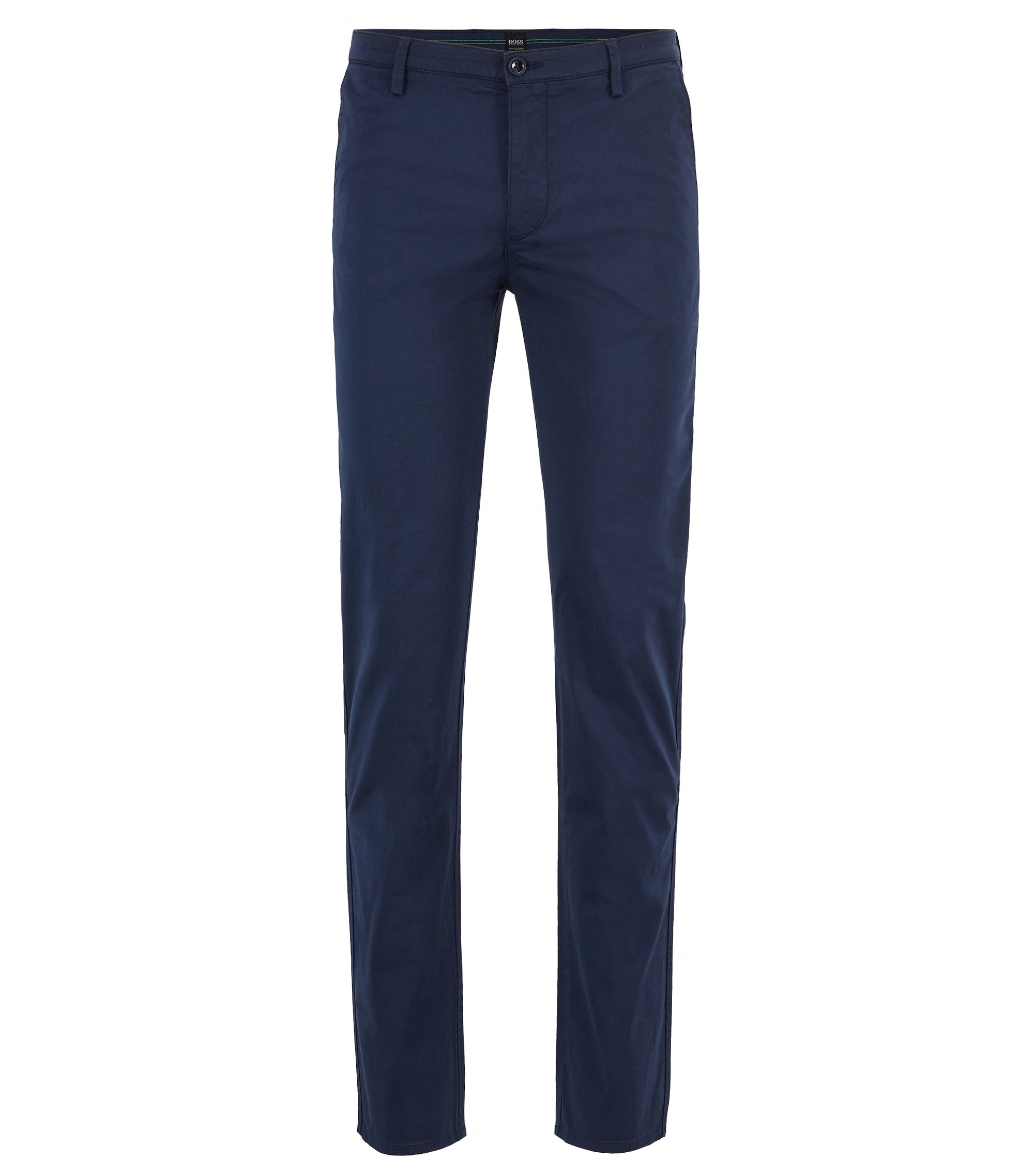 Slim-fit chinos in diamond-brushed comfort-stretch cotton, Dark Blue