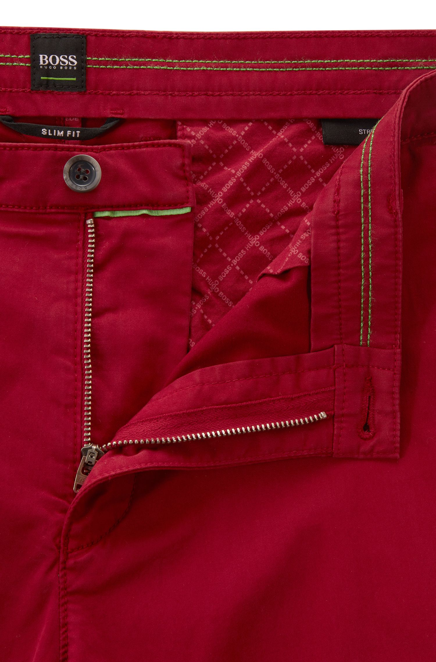 Slim-fit chinos in diamond-brushed comfort-stretch cotton, Dark Red
