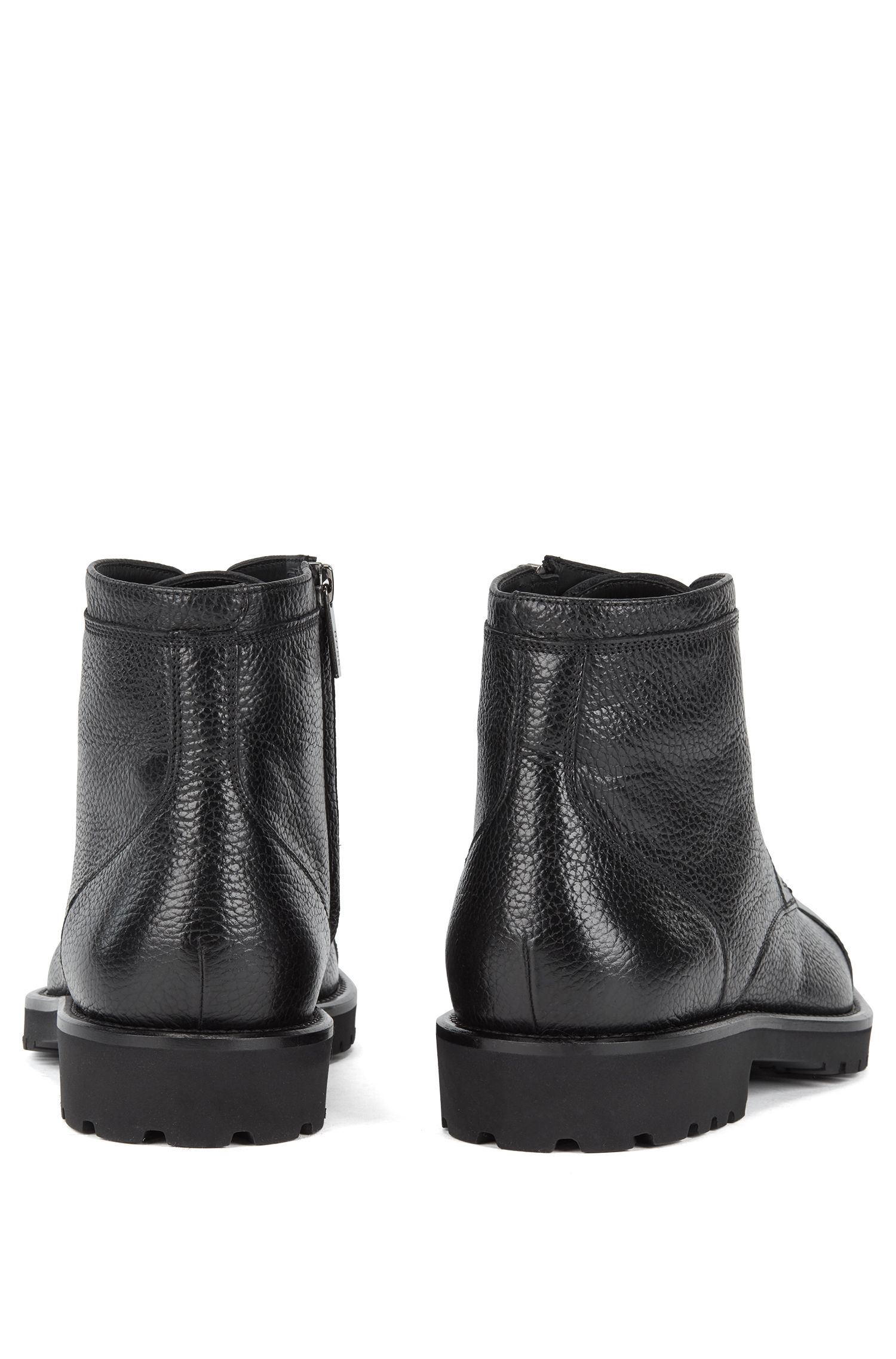 Zip-up laced boots in grained calf leather, Black