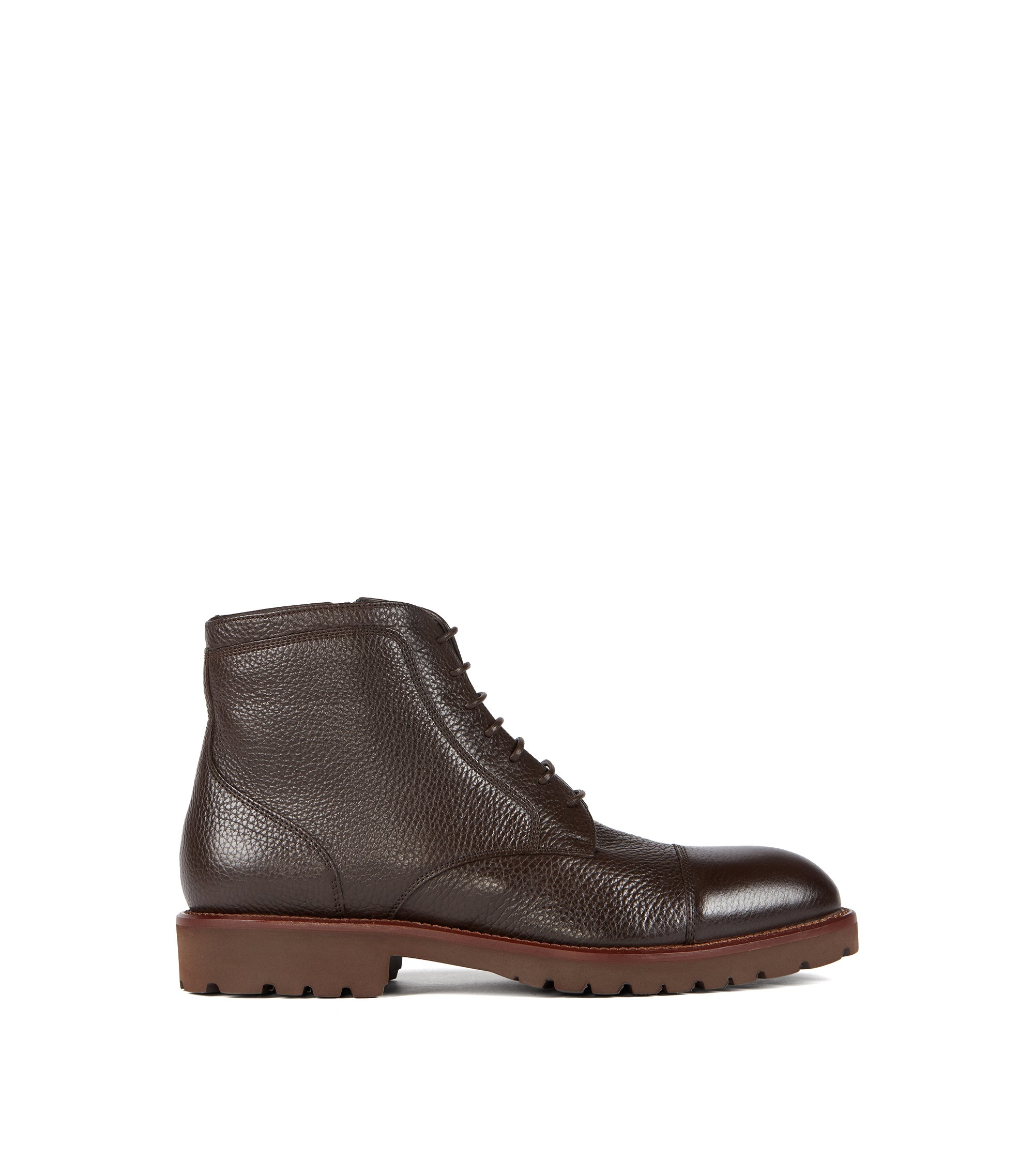 Zip-up laced boots in grained calf leather, Dark Brown