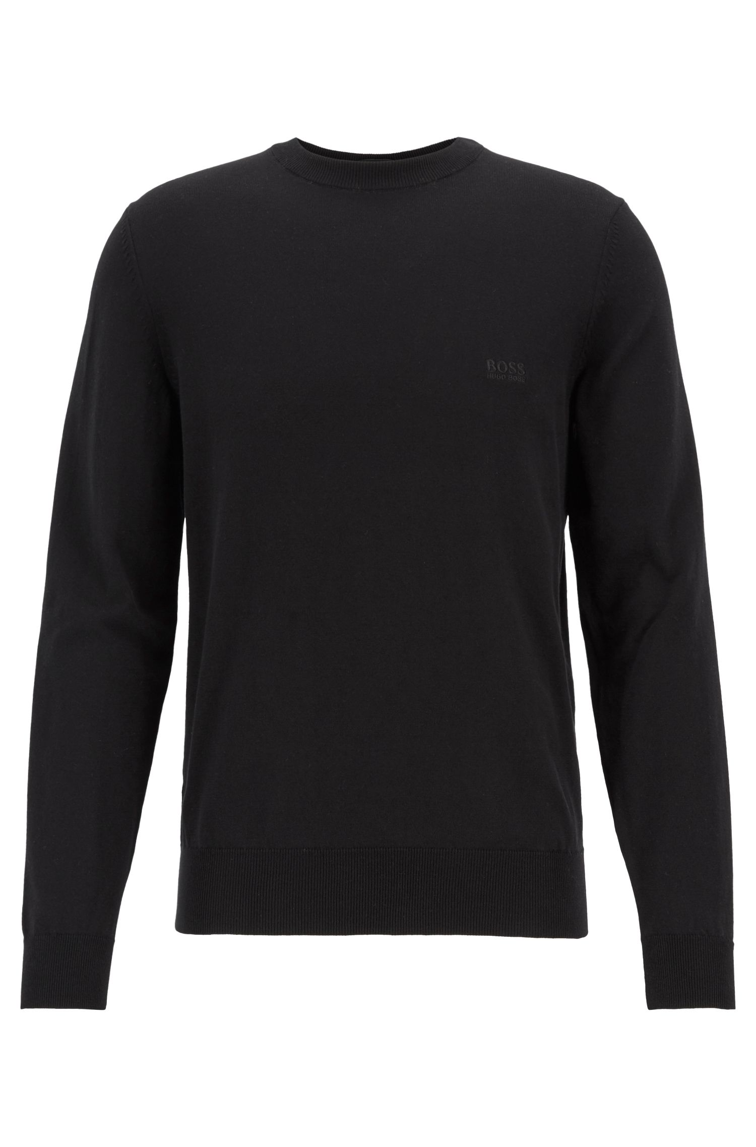 Crew-neck sweater in single-jersey cotton, Black