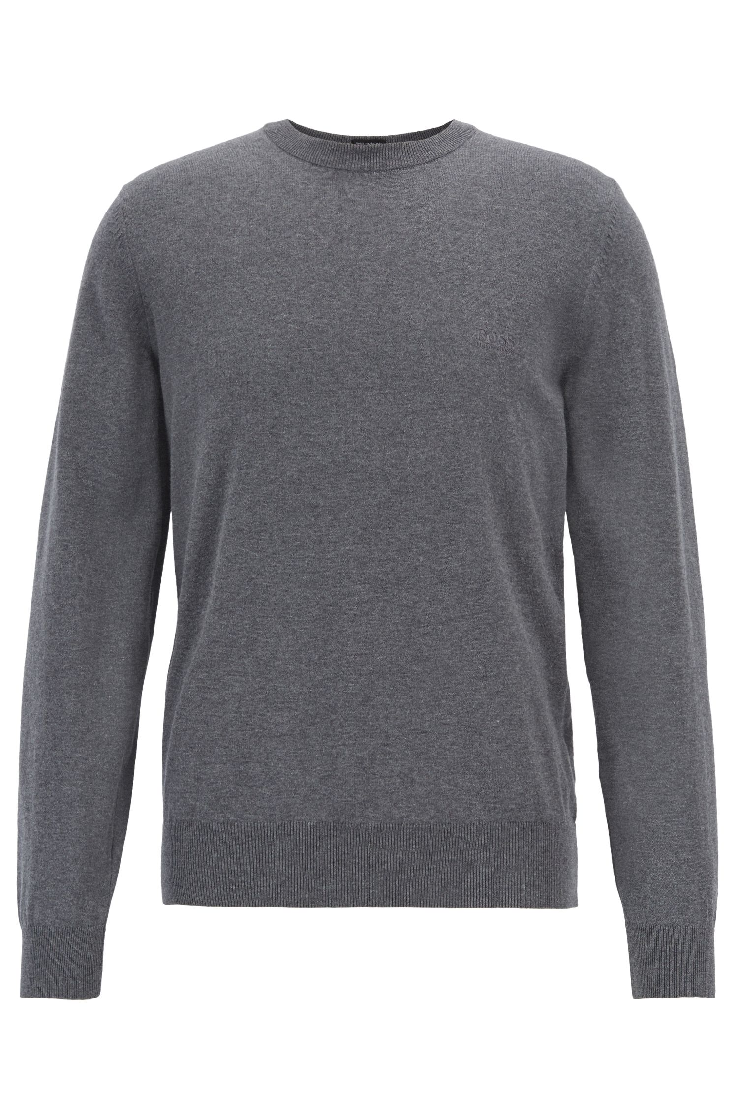 Crew-neck sweater in single-jersey cotton, Grey