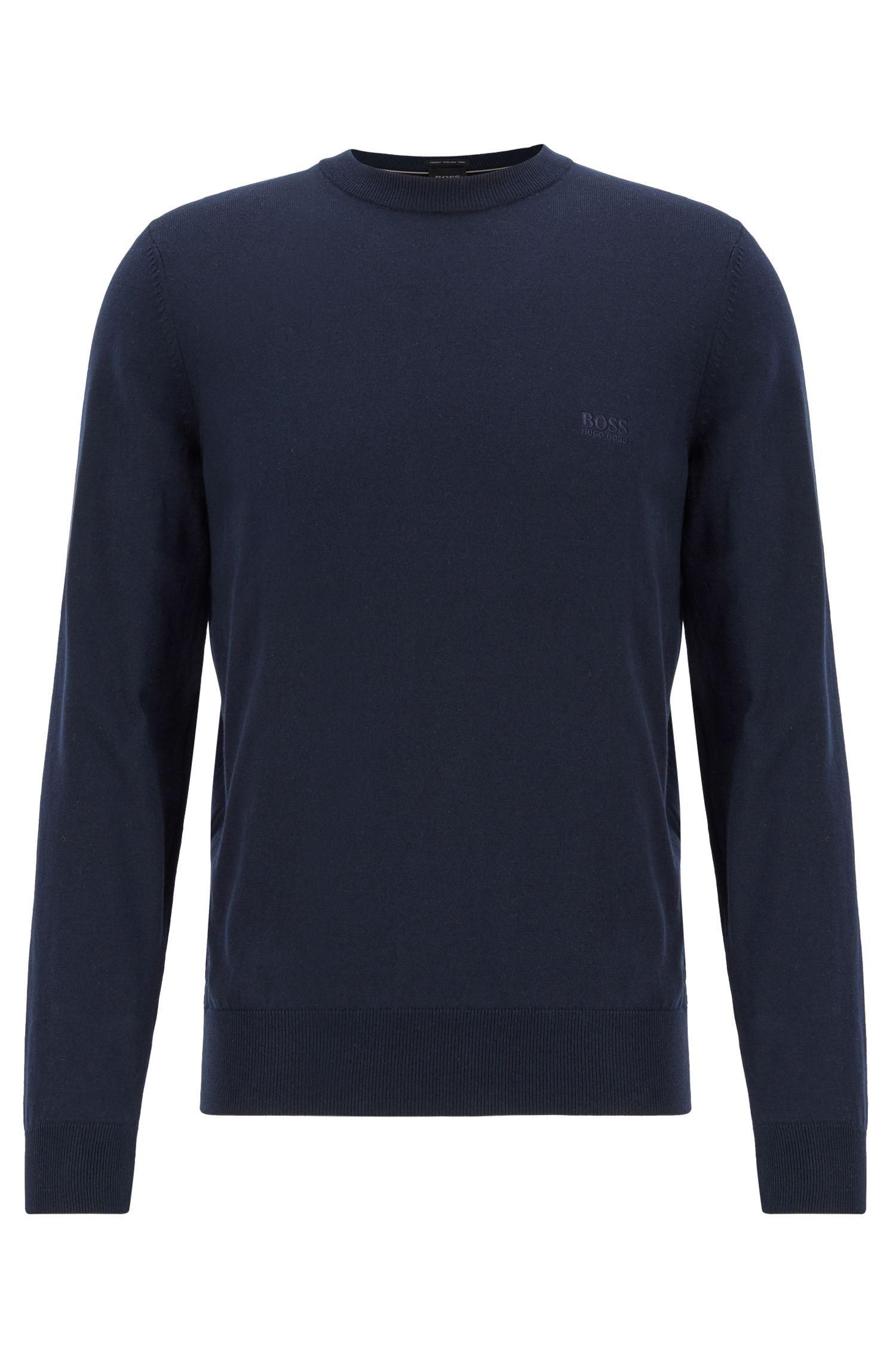 Crew-neck sweater in single-jersey cotton, Dark Blue