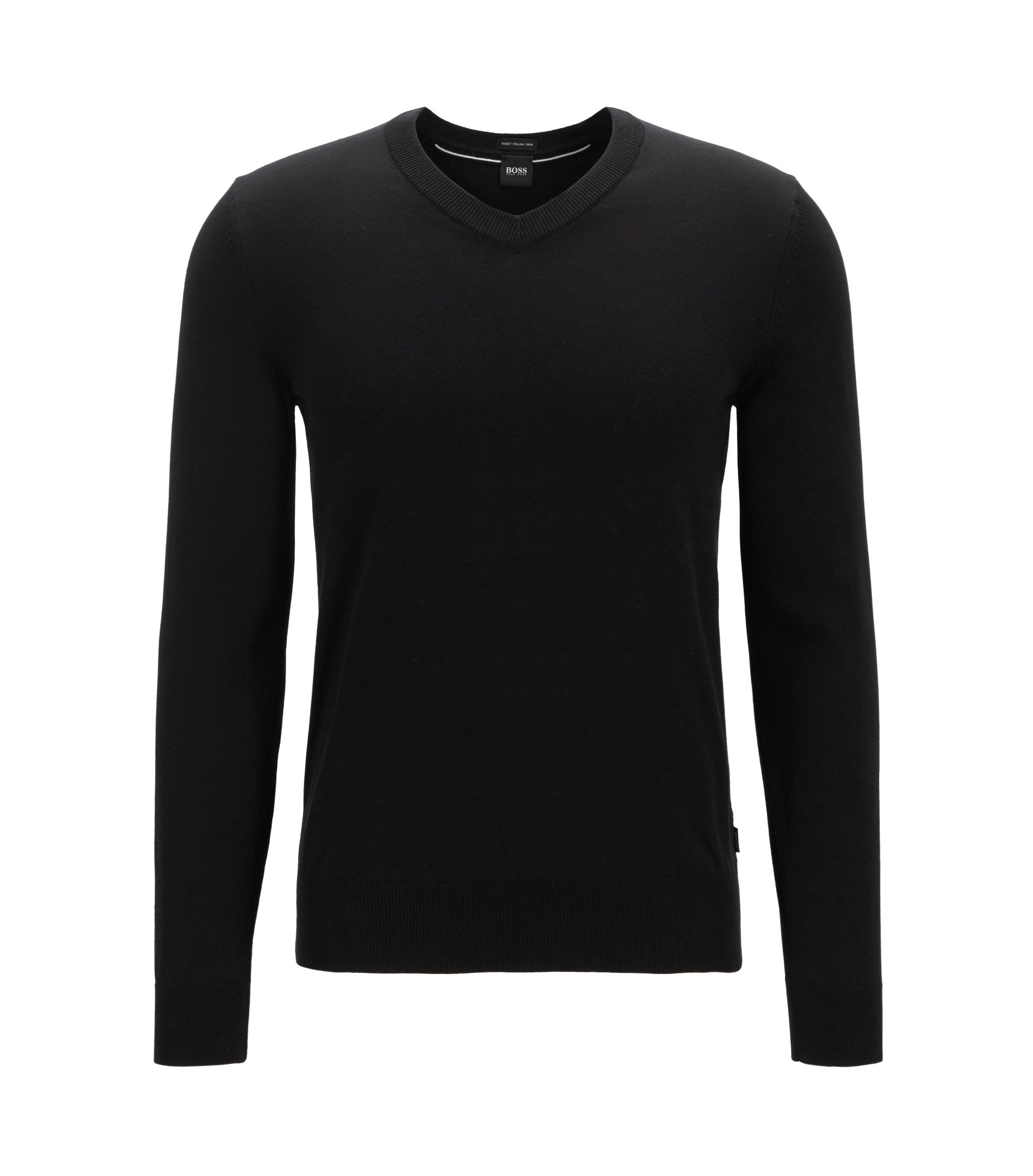 Long-sleeved cotton sweater with V neckline, Black