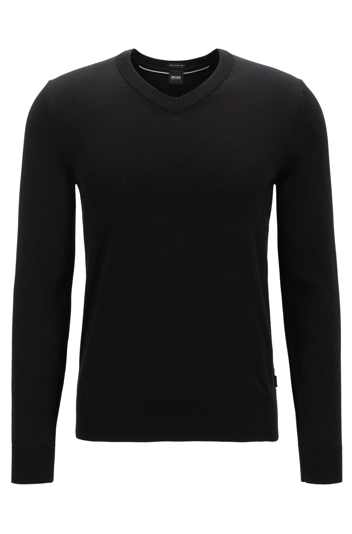 Jersey de algodón de manga larga con cuello en pico, Negro
