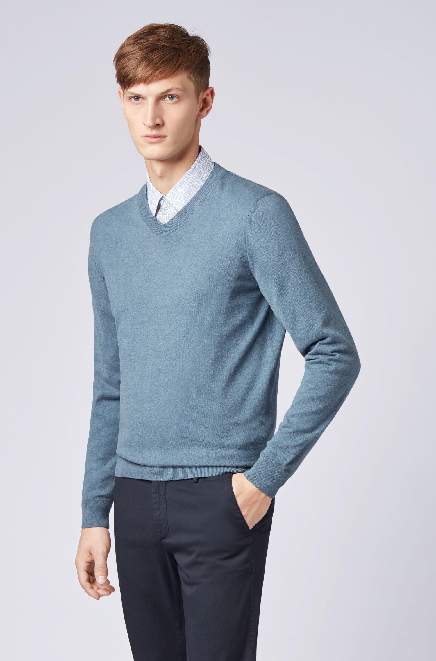 Pullover aus Baumwolle mit V-Ausschnitt, Blau