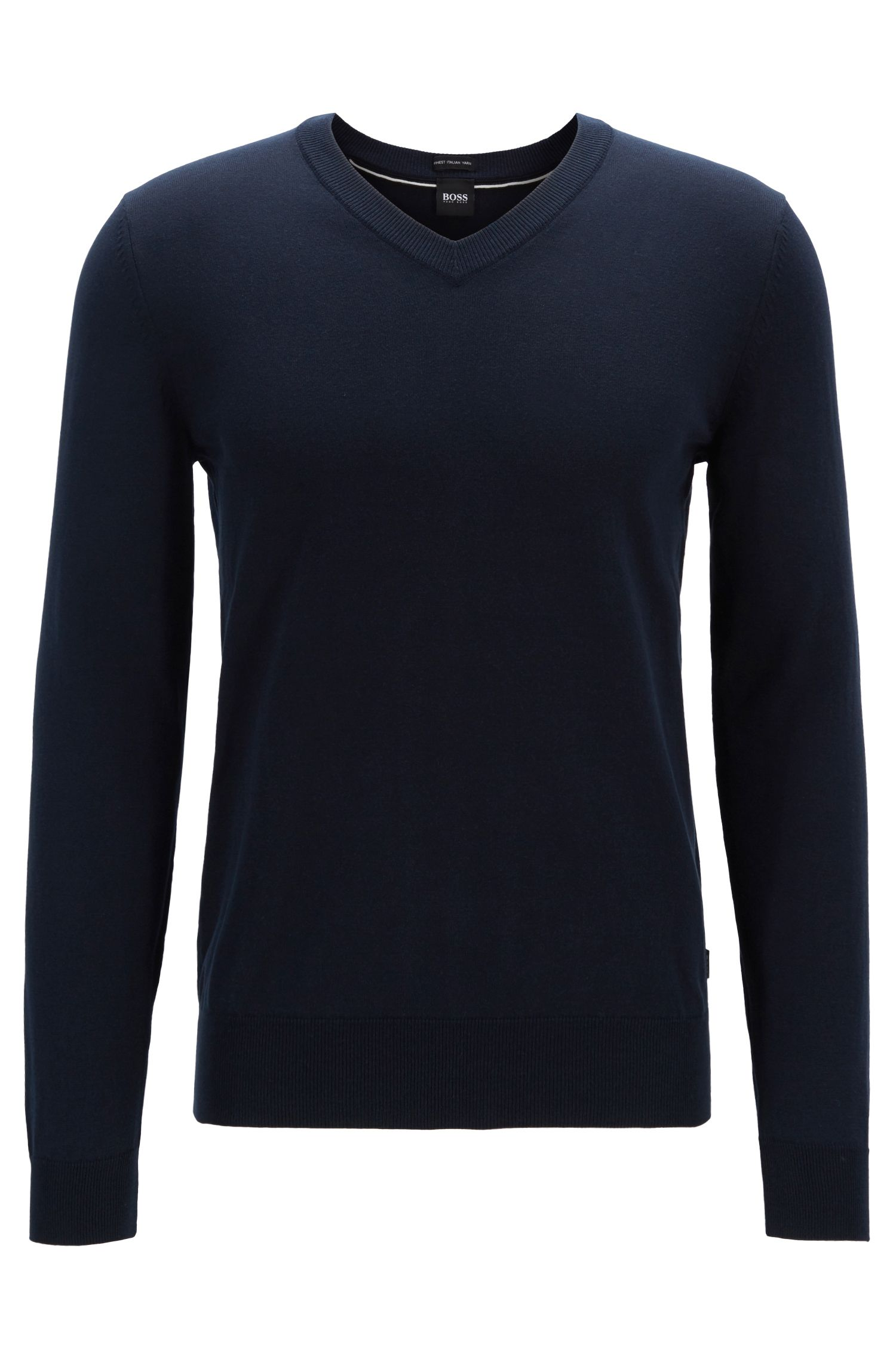 Long-sleeved cotton sweater with V neckline, Blue