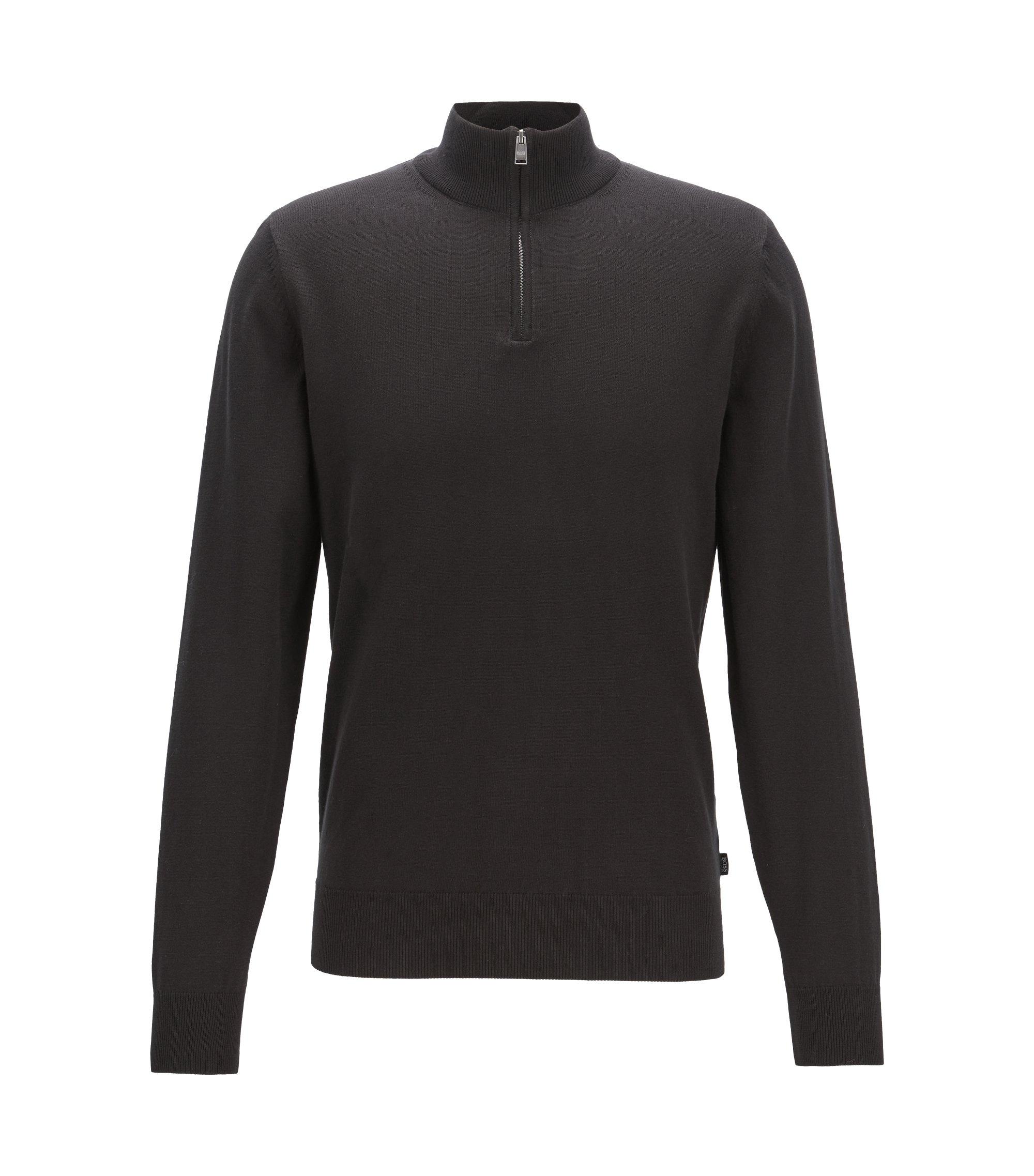 Jersey con cremallera en punto sencillo de algodón, Negro