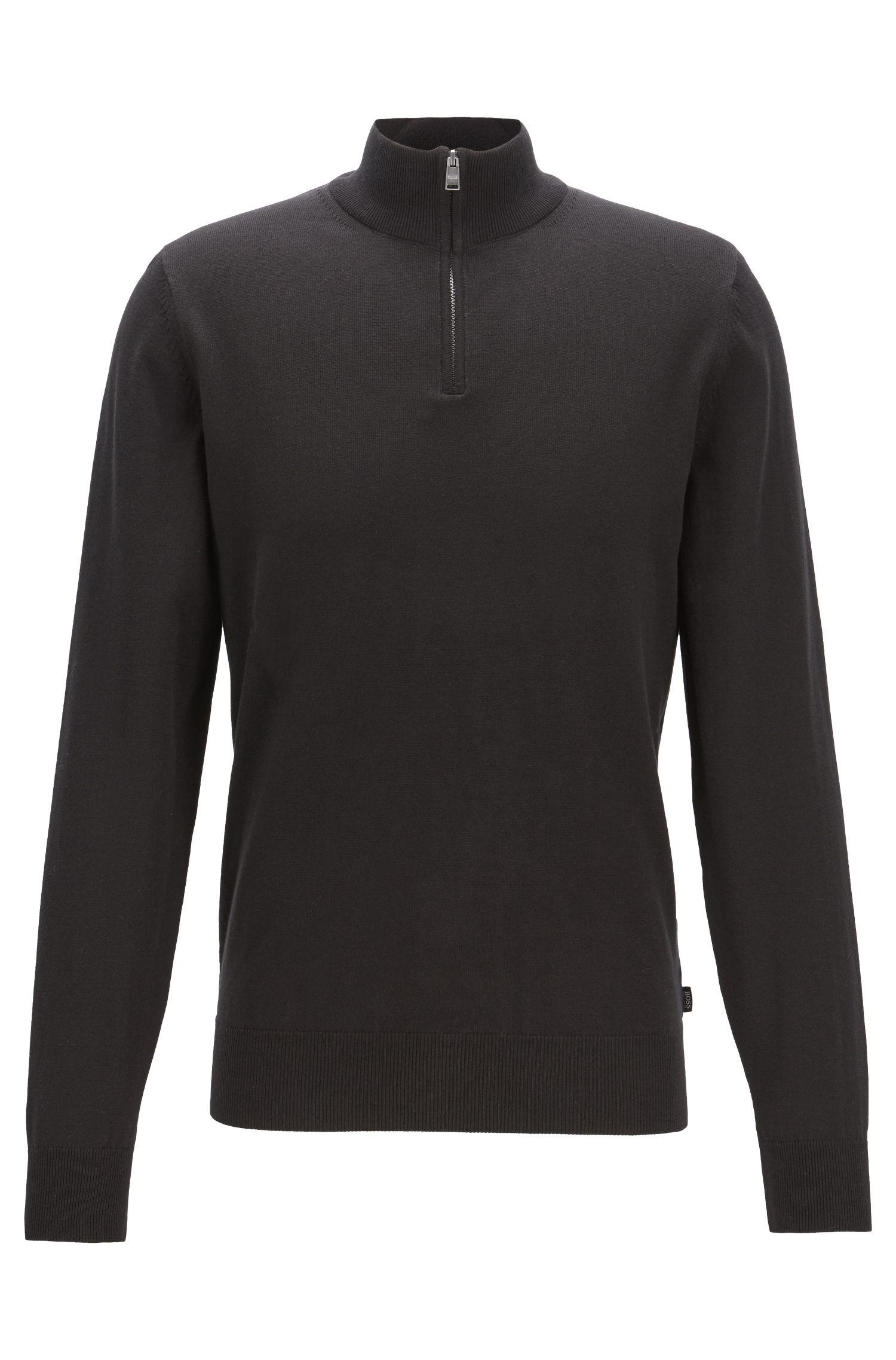 Pull à encolure zippée en jersey simple de coton, Noir