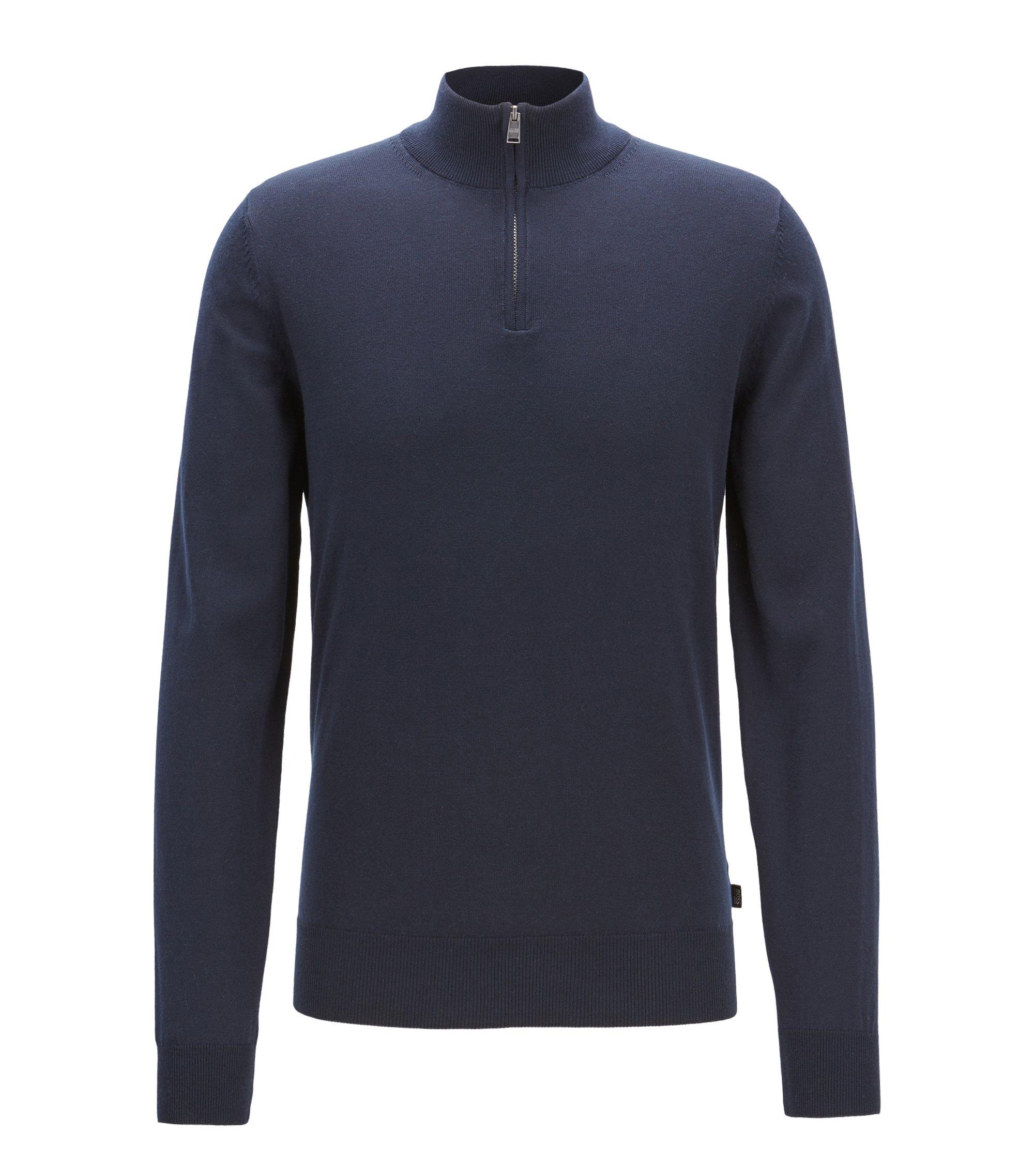 Trui van katoenen single-jersey met ritskraag, Donkerblauw