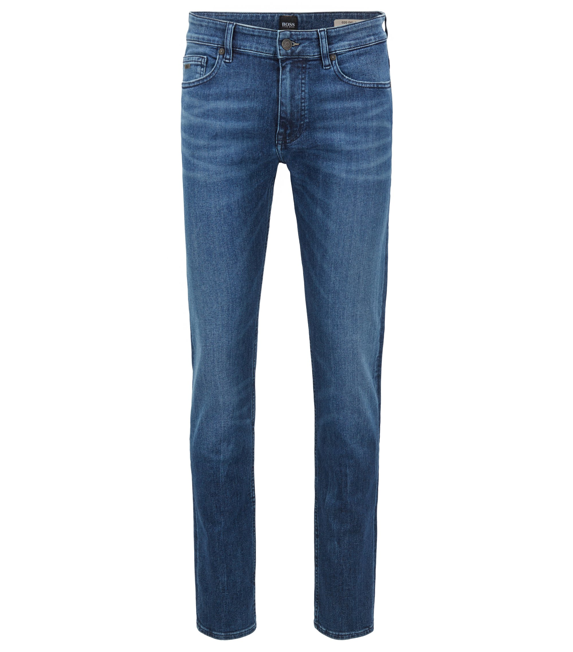 Slim-fit jeans van gerecycled stretchdenim, Blauw