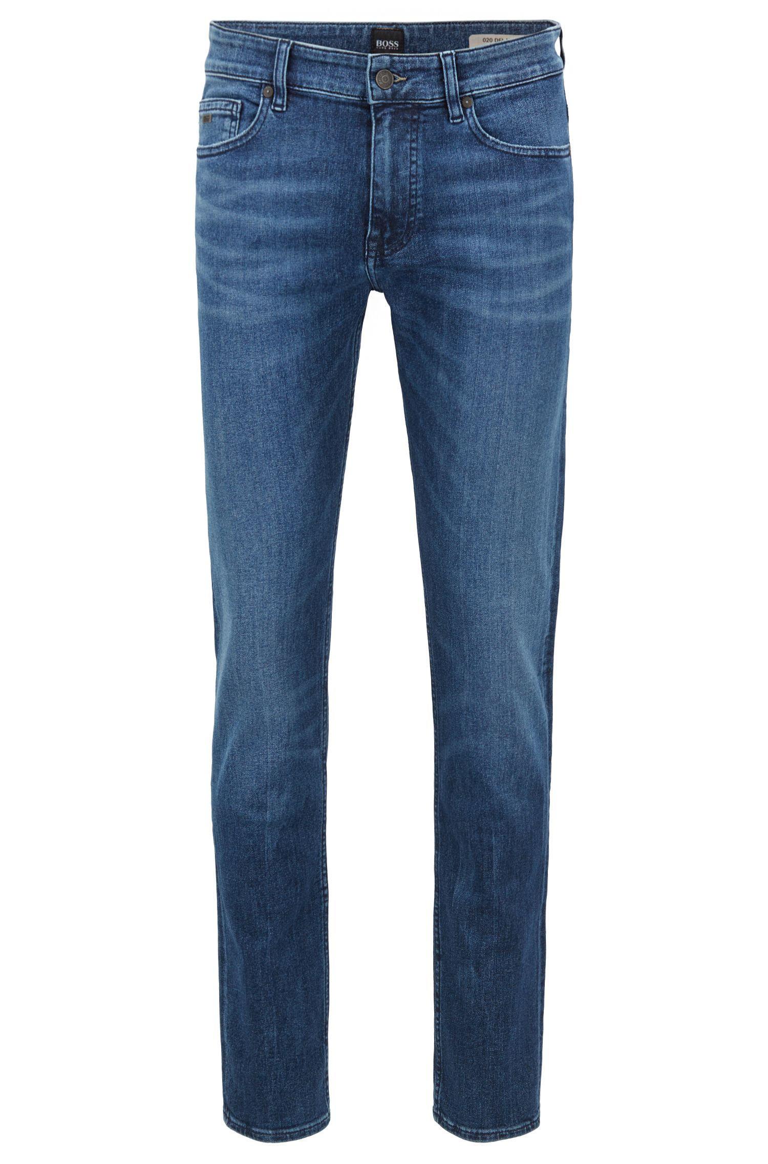 Slim-fit jeans in recycled stretch denim, Blue