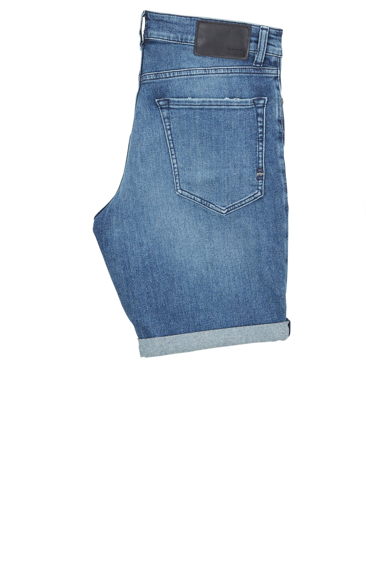 Regular-fit short van gerecycled stretchdenim, Blauw