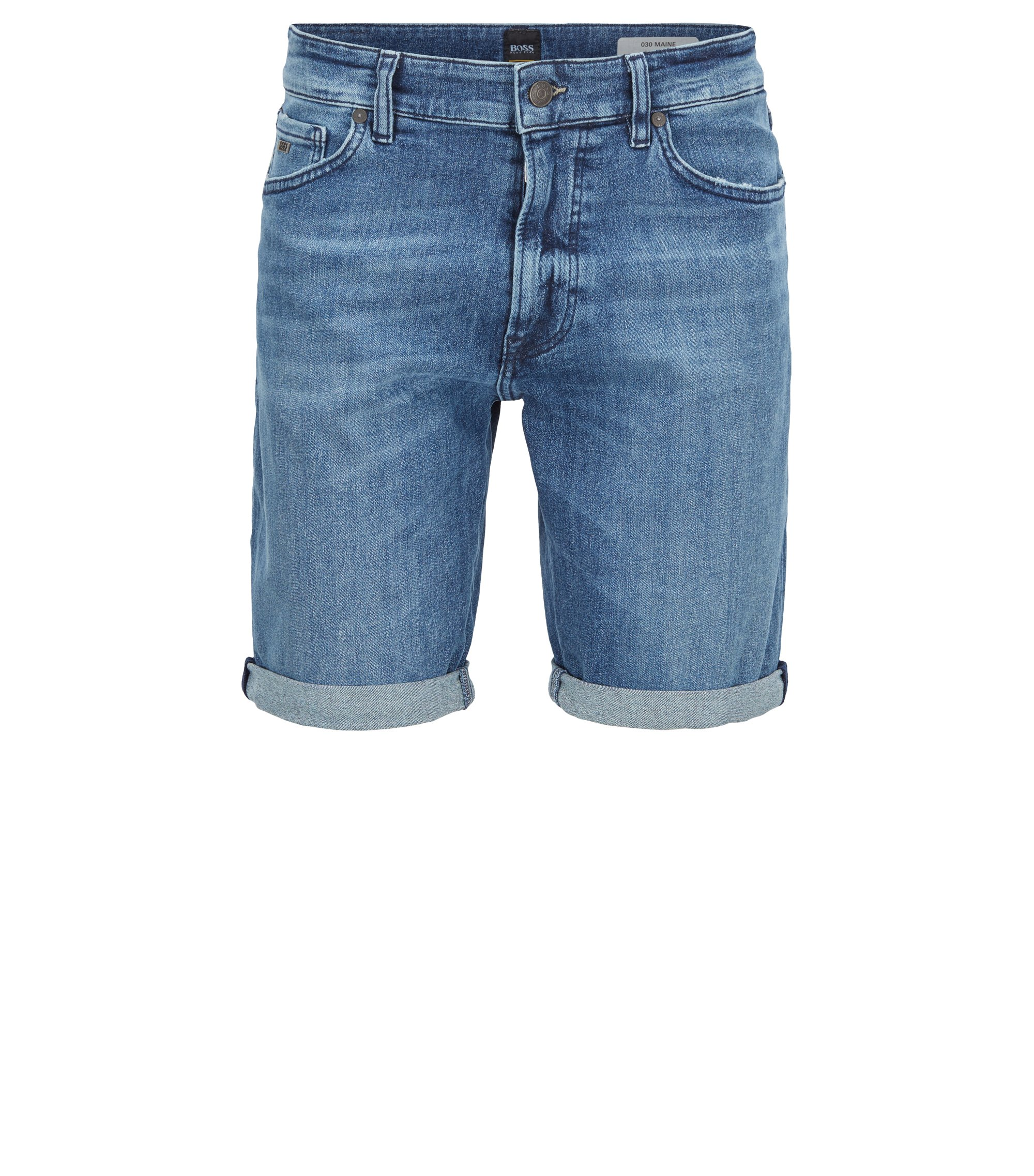 Regular-fit shorts in recycled stretch denim, Blue